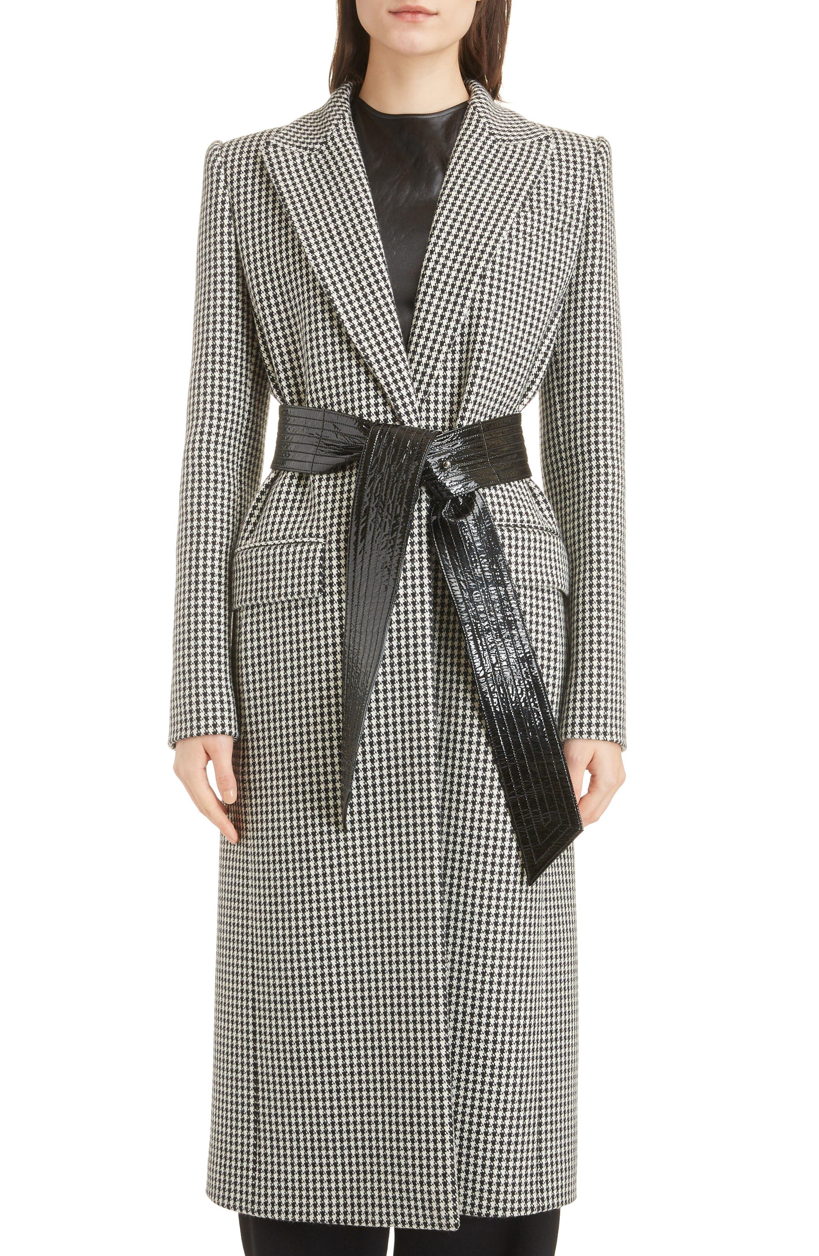 Houndstooth Wool Coat,                         Main,                         color, BLACK NATURAL