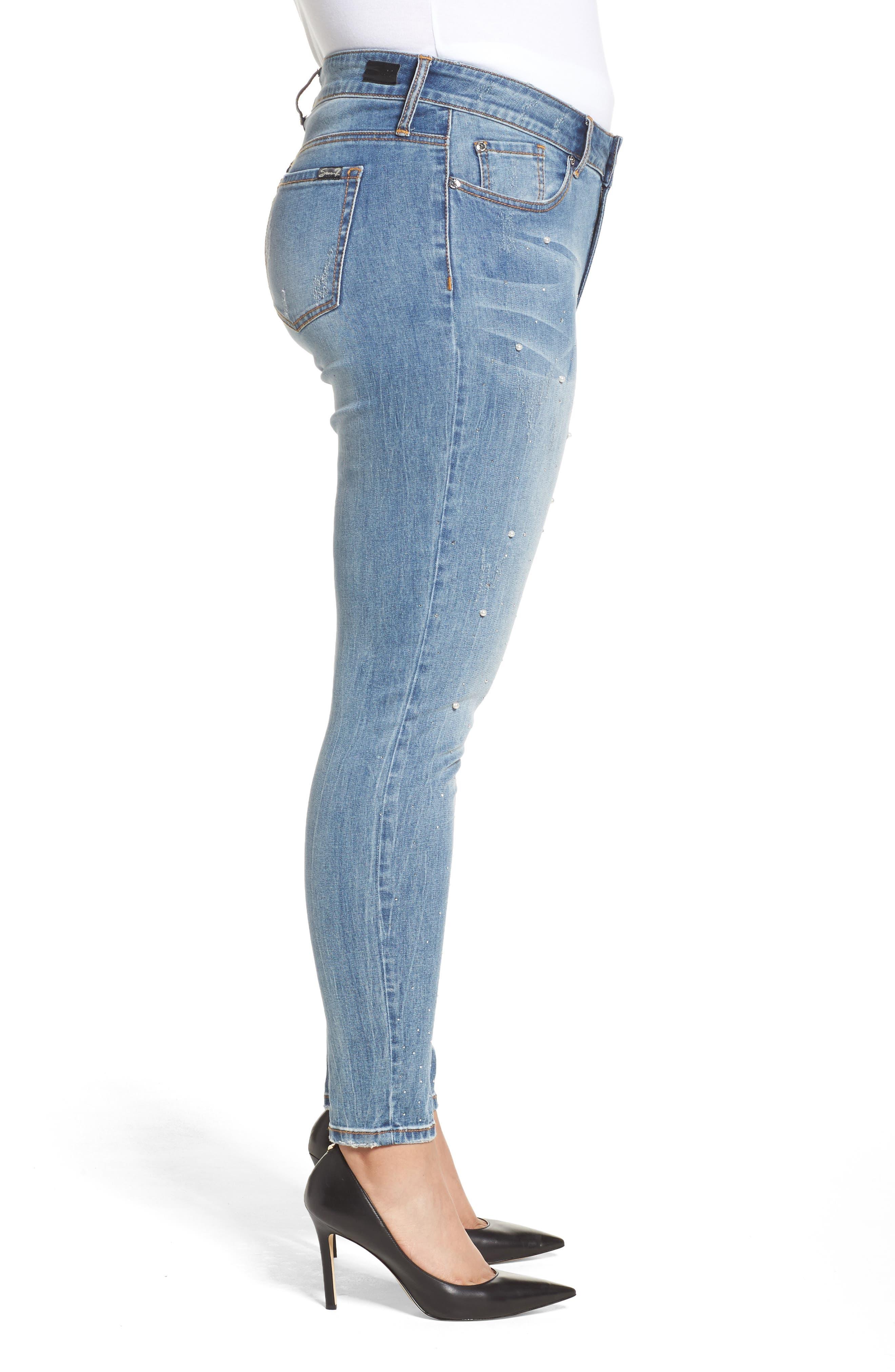 Embellished Skinny Jeans,                             Alternate thumbnail 3, color,                             STARLET