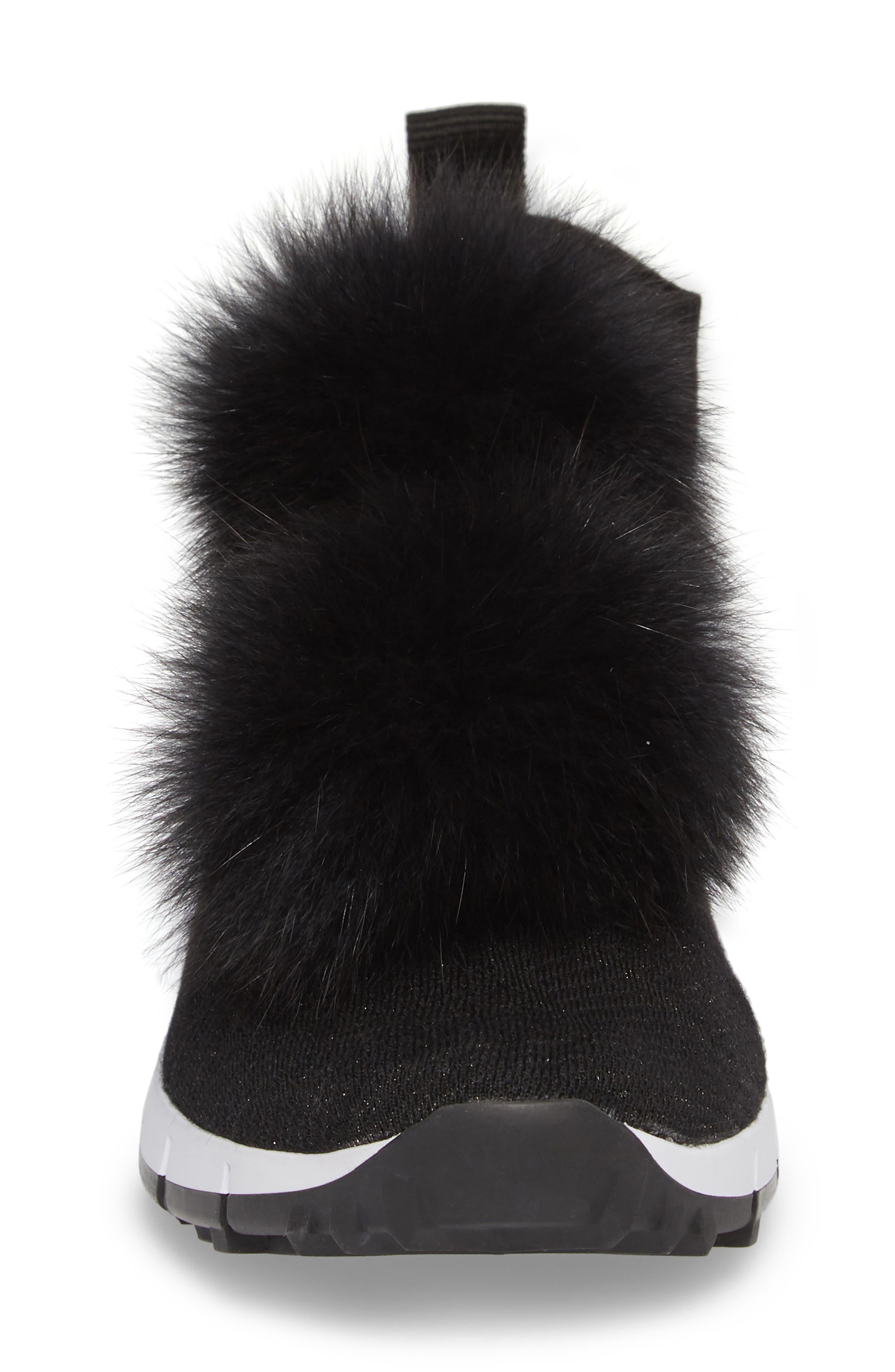 Genuine Fox Fur Sock Sneaker,                             Alternate thumbnail 4, color,                             BLACK