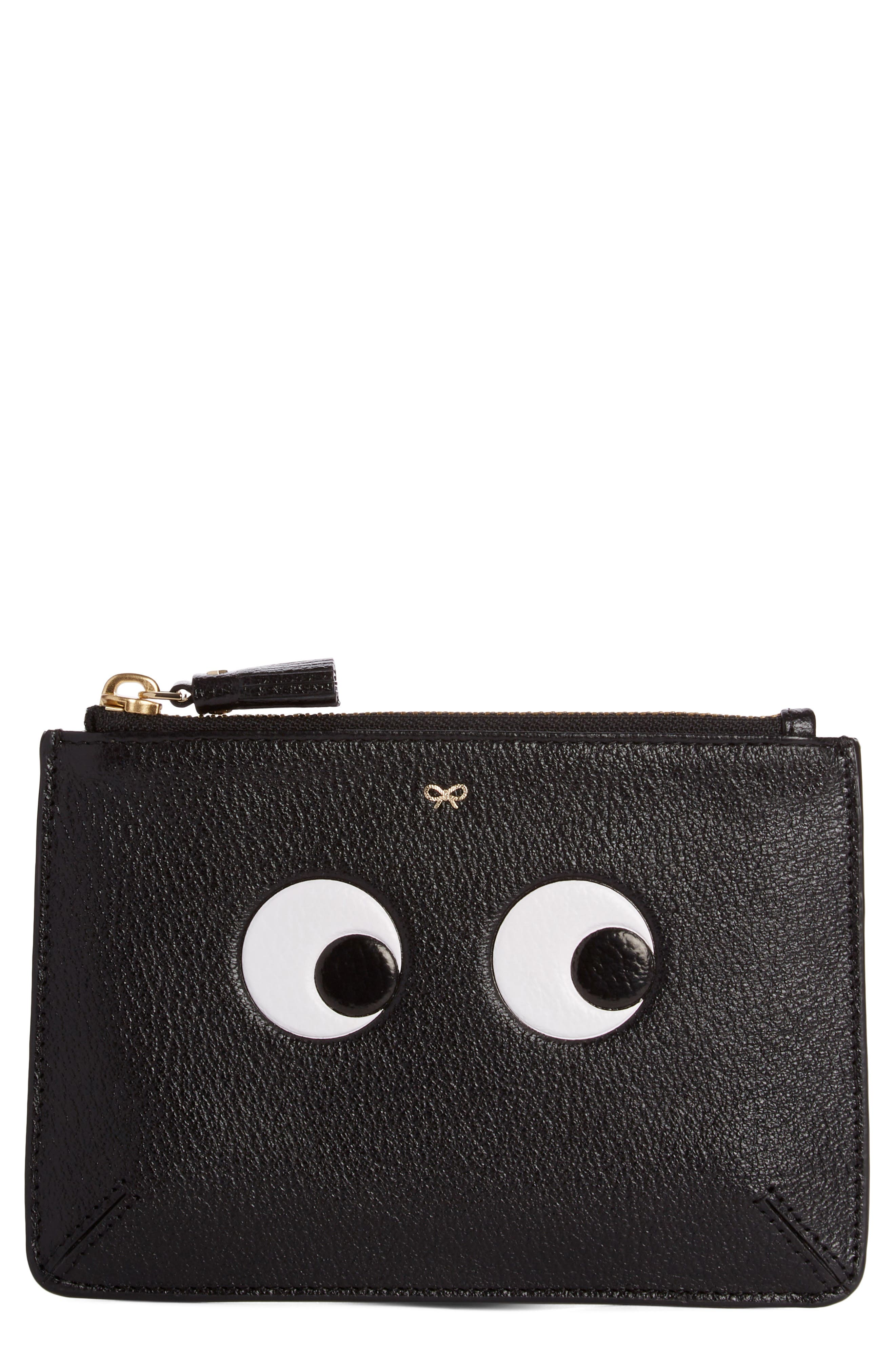 Eyes Leather Zip Pouch,                         Main,                         color, BLACK/ LIGHT GREY