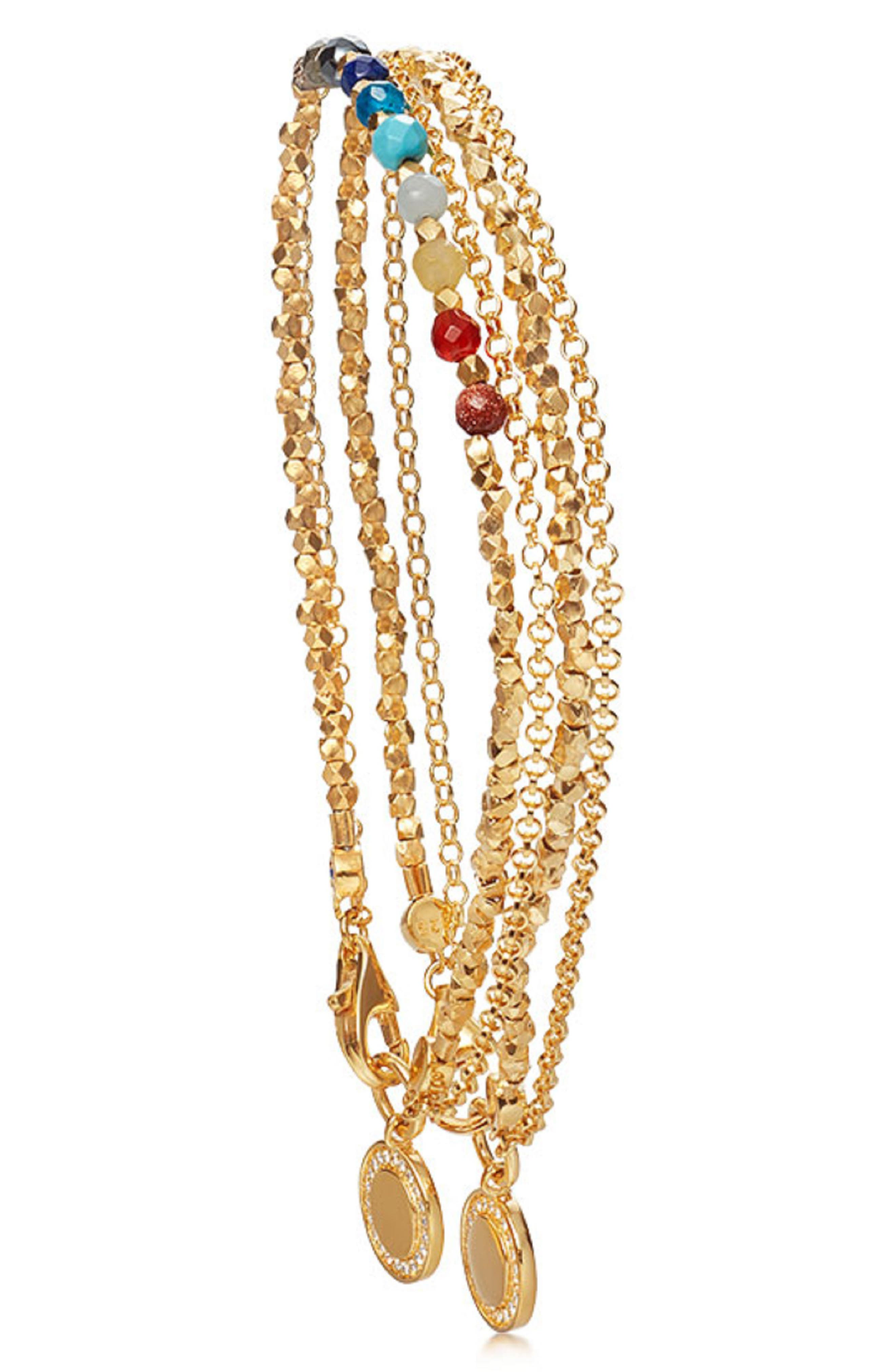 ASTLEY CLARKE 18K Gold Rainbow Double Cosmos Stack Bracelet, Main, color, GOLD