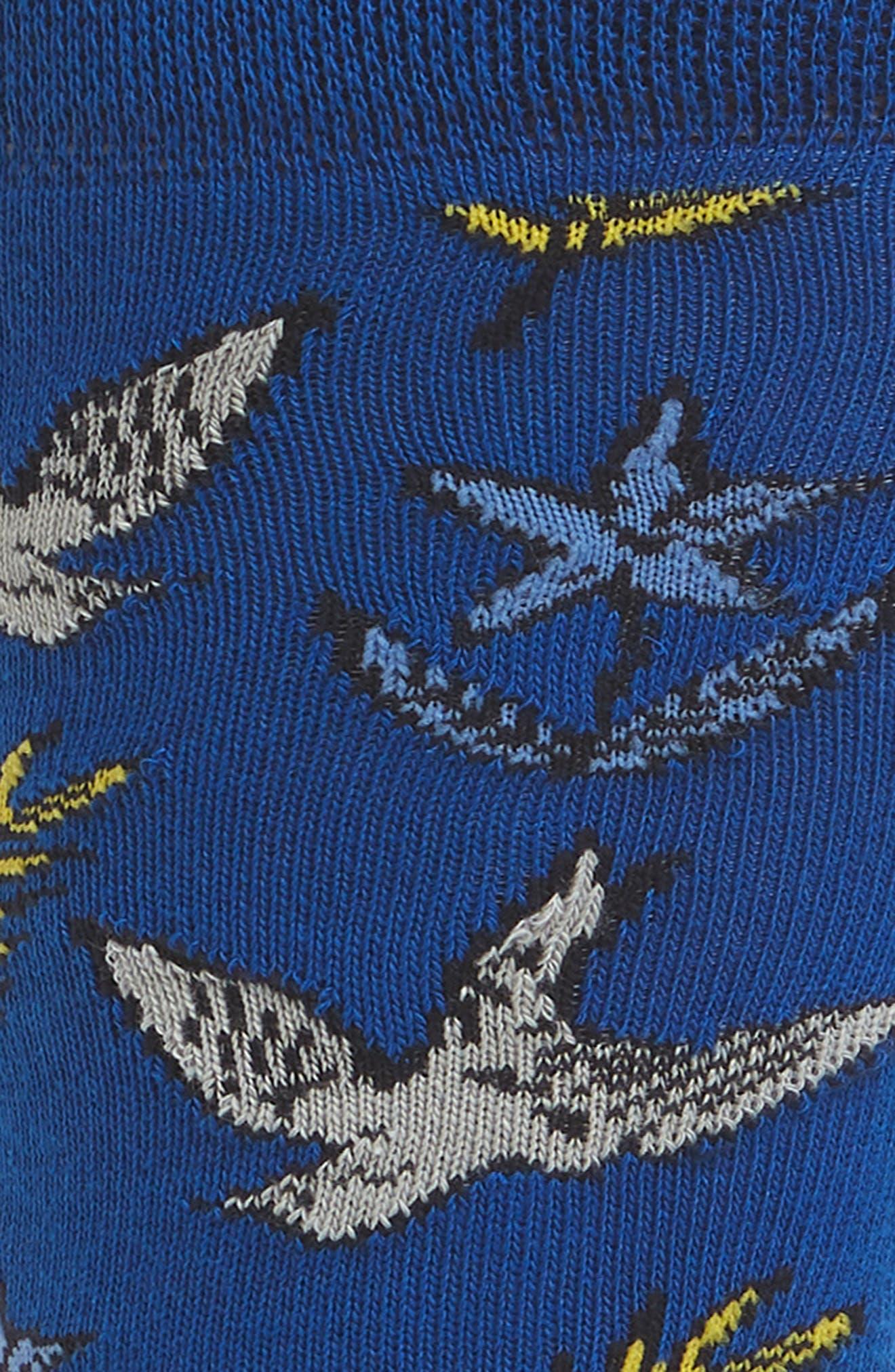 Leee Print Socks,                             Alternate thumbnail 2, color,                             BRIGHT BLUE