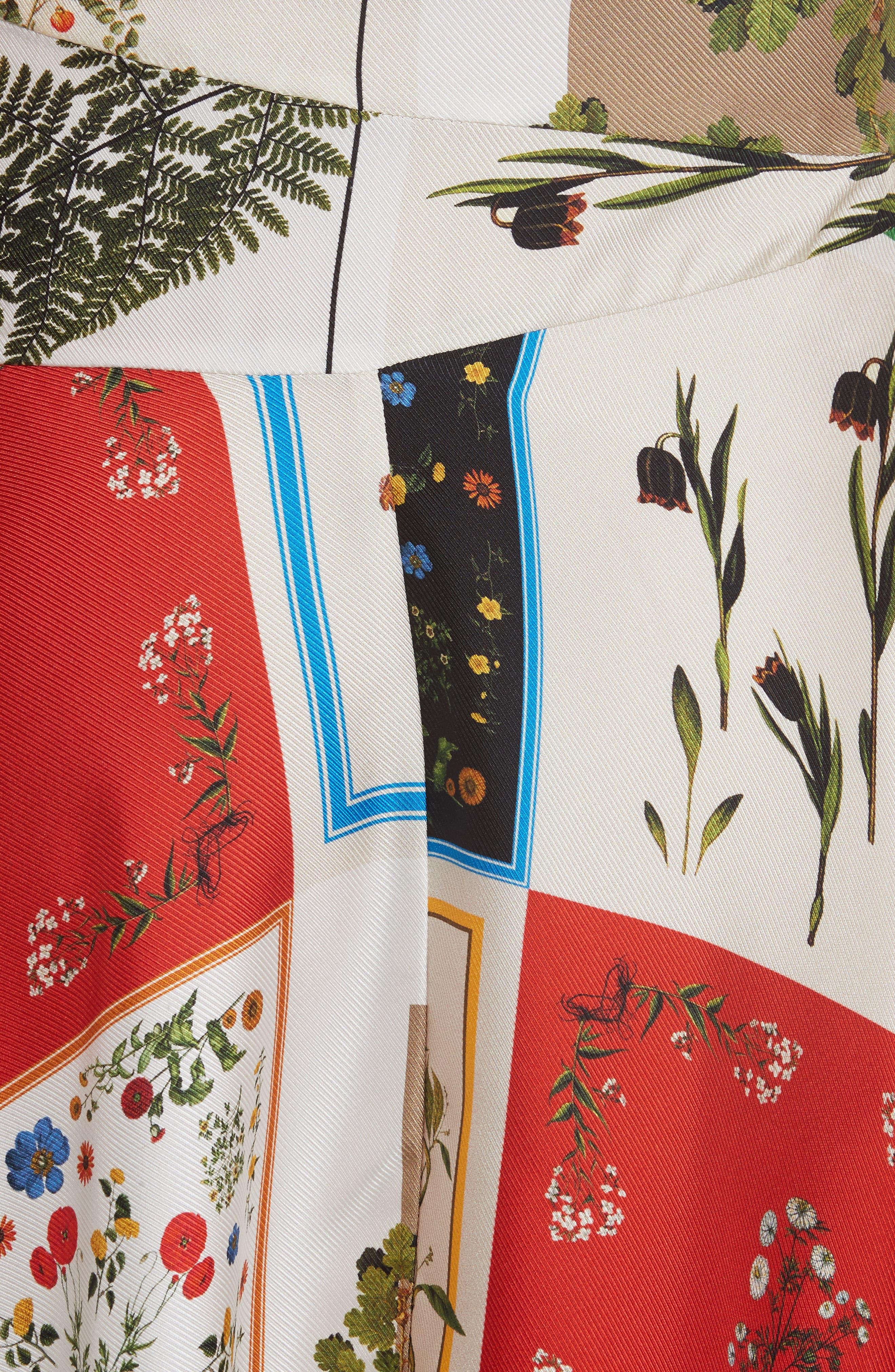 Patchwork Silk One-Shoulder Dress,                             Alternate thumbnail 5, color,                             908