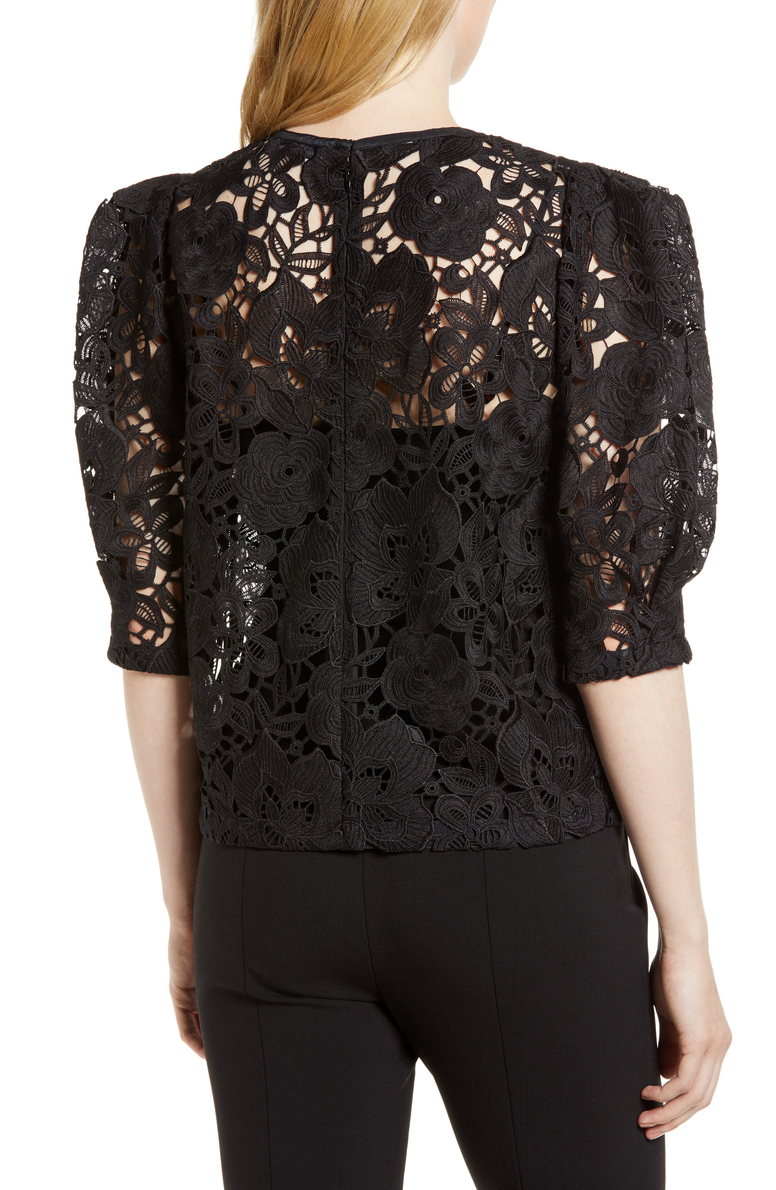 Puff Sleeve Lace Blouse,                             Alternate thumbnail 2, color,                             001
