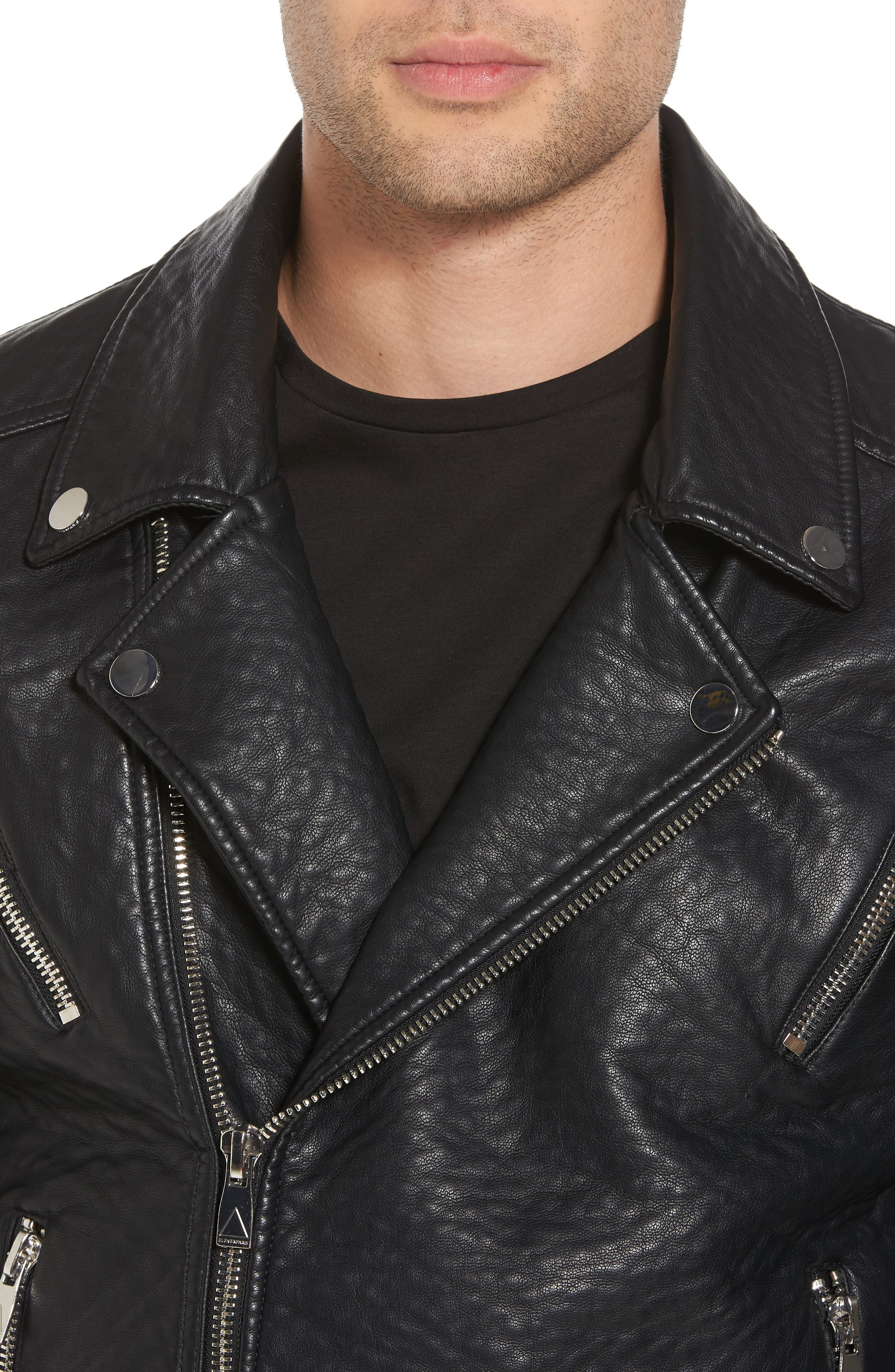 Elmut Faux Leather Biker Jacket,                             Alternate thumbnail 4, color,                             001