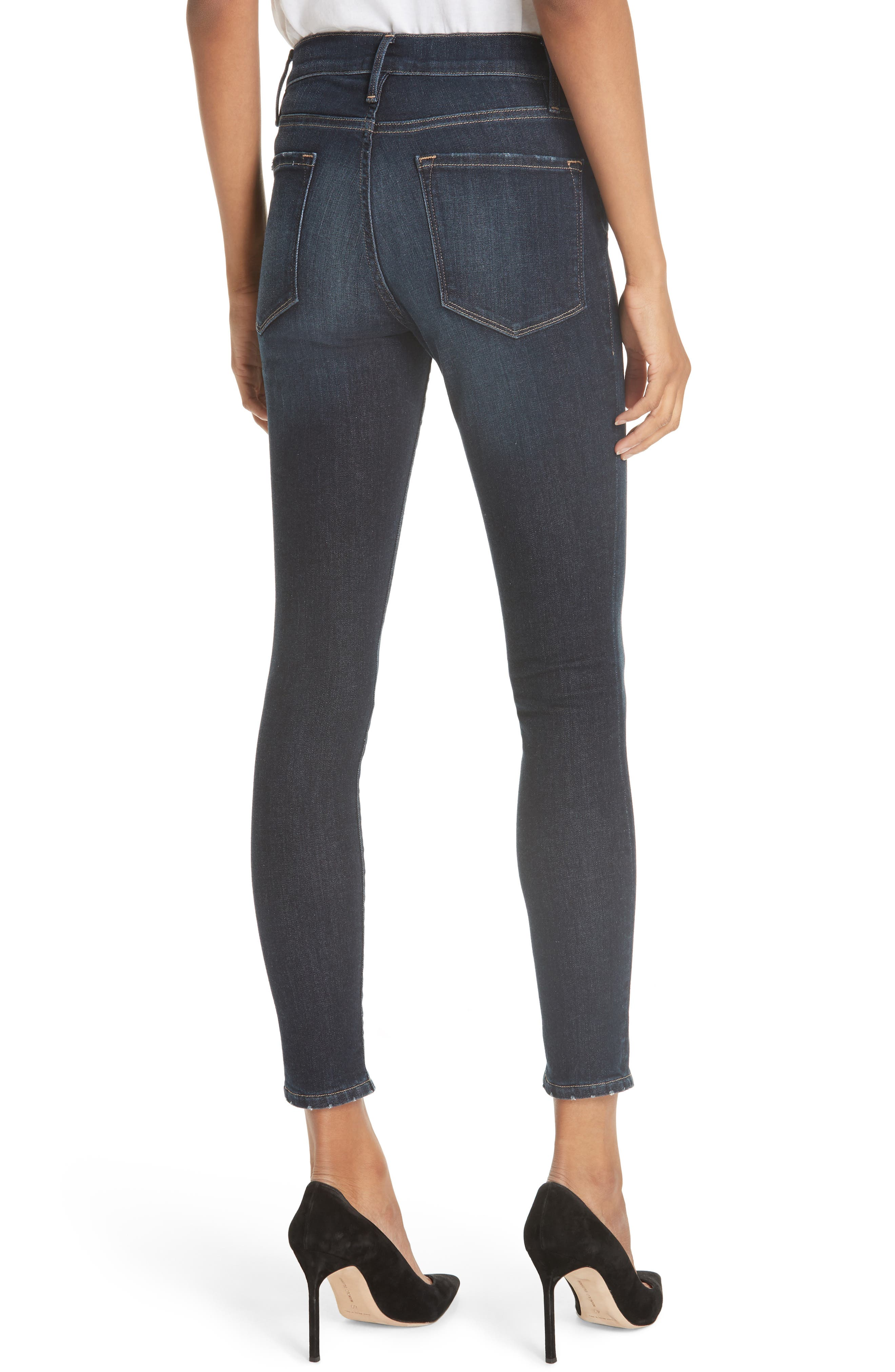 Le High Curve Split Hem Skinny Jeans,                             Alternate thumbnail 2, color,                             RUFFIN