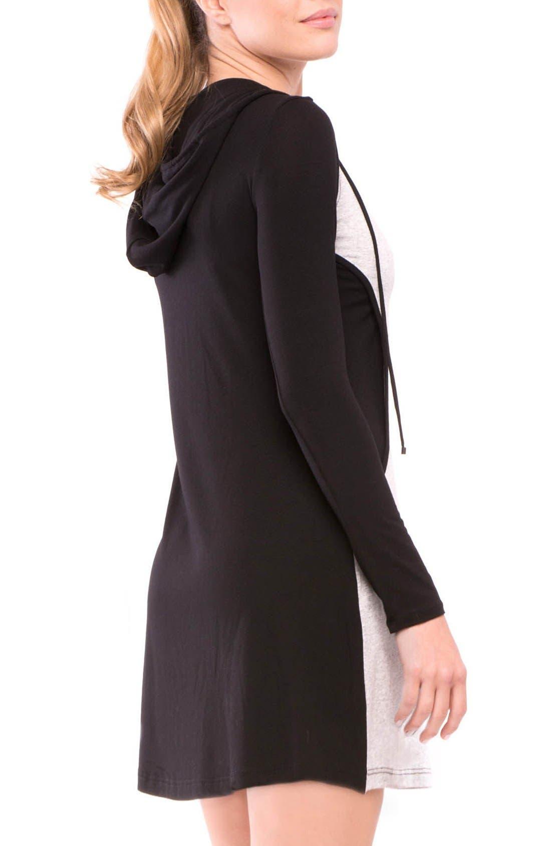 Skye Maternity/Nursing Hooded Tunic,                             Alternate thumbnail 6, color,                             GRAY/ BLACK STRIPE