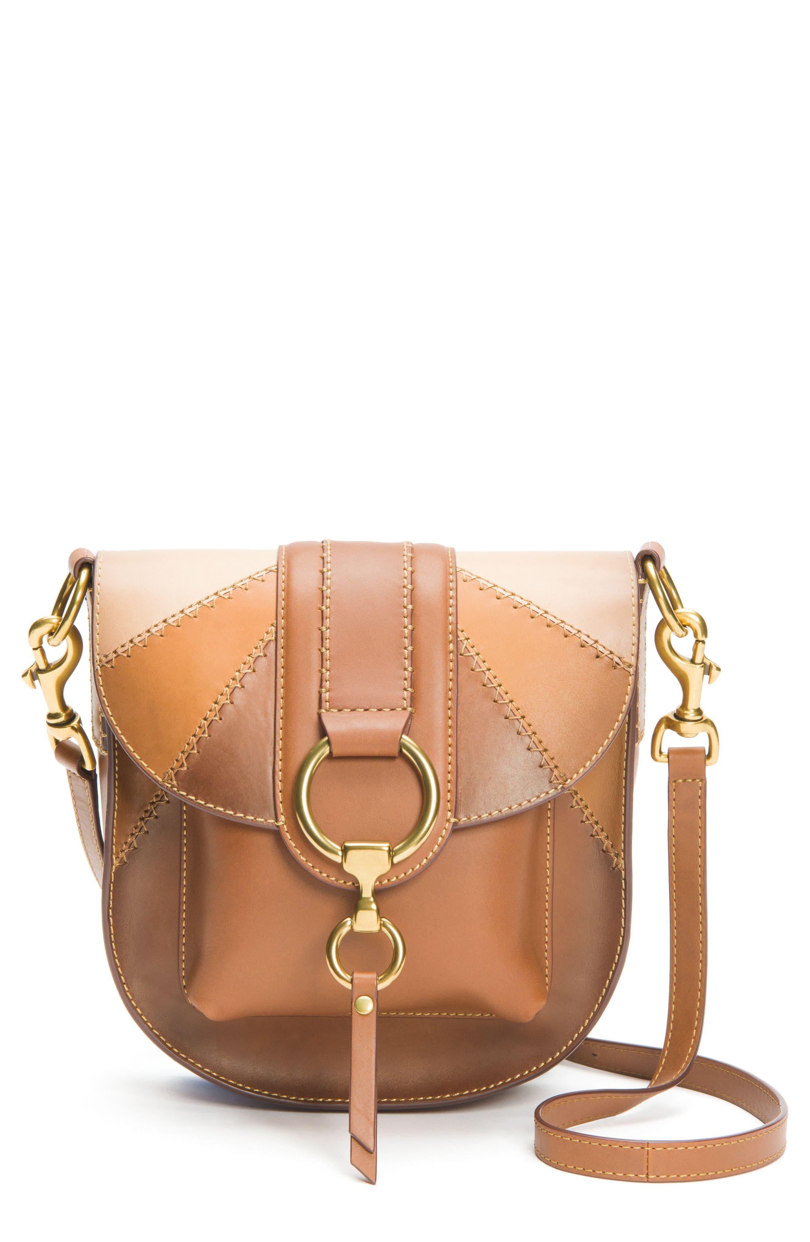 Ilana Colorblock Leather Saddle Bag,                         Main,                         color, 200