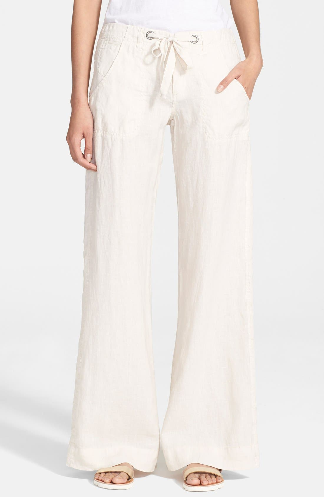 Wide Leg Linen Pants,                             Main thumbnail 2, color,