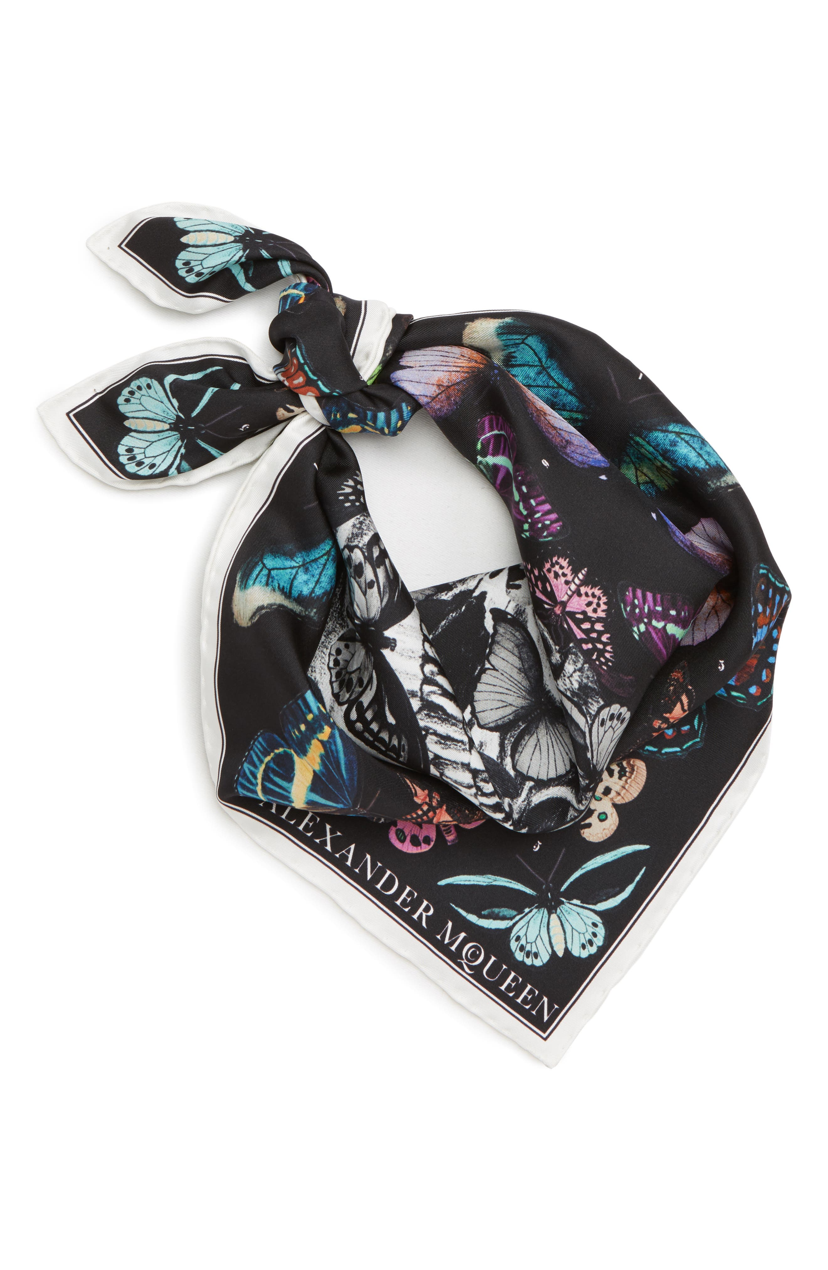 Skull & Rainbow Butterflies Print Silk Bandana,                             Alternate thumbnail 3, color,                             BLACK/ IVORY