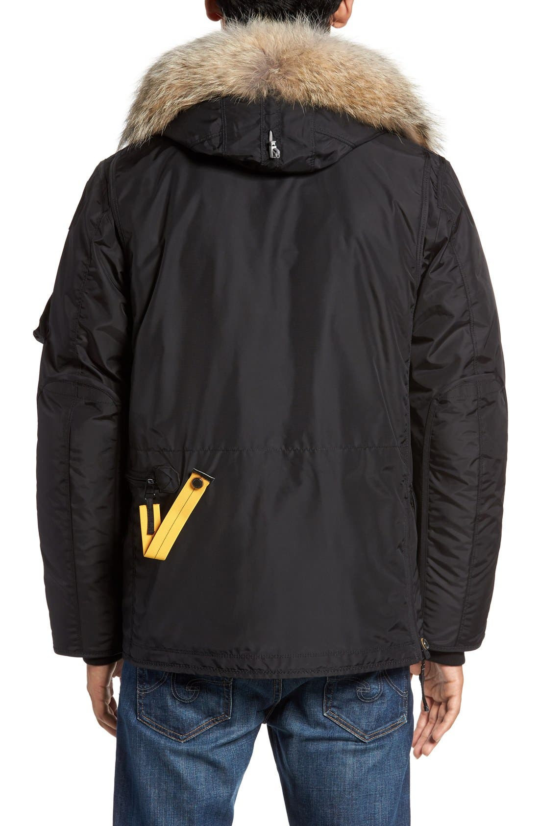 'Right Hand' Water Repellent Down Jacket with Faux Fur & Genuine Coyote Fur Trim,                             Alternate thumbnail 2, color,                             001