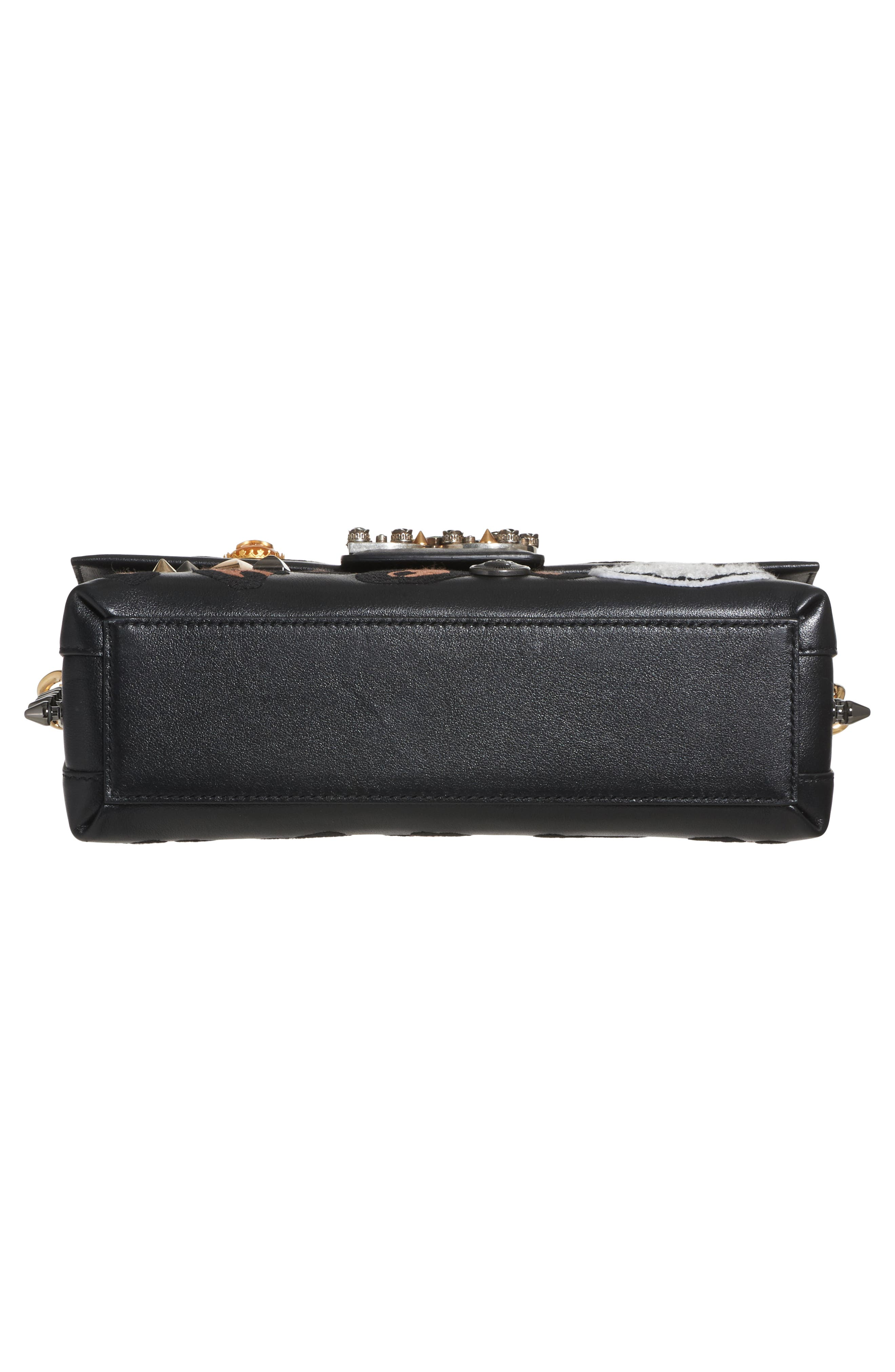 Millennials Embellished Leather Shoulder Bag,                             Alternate thumbnail 5, color,                             001