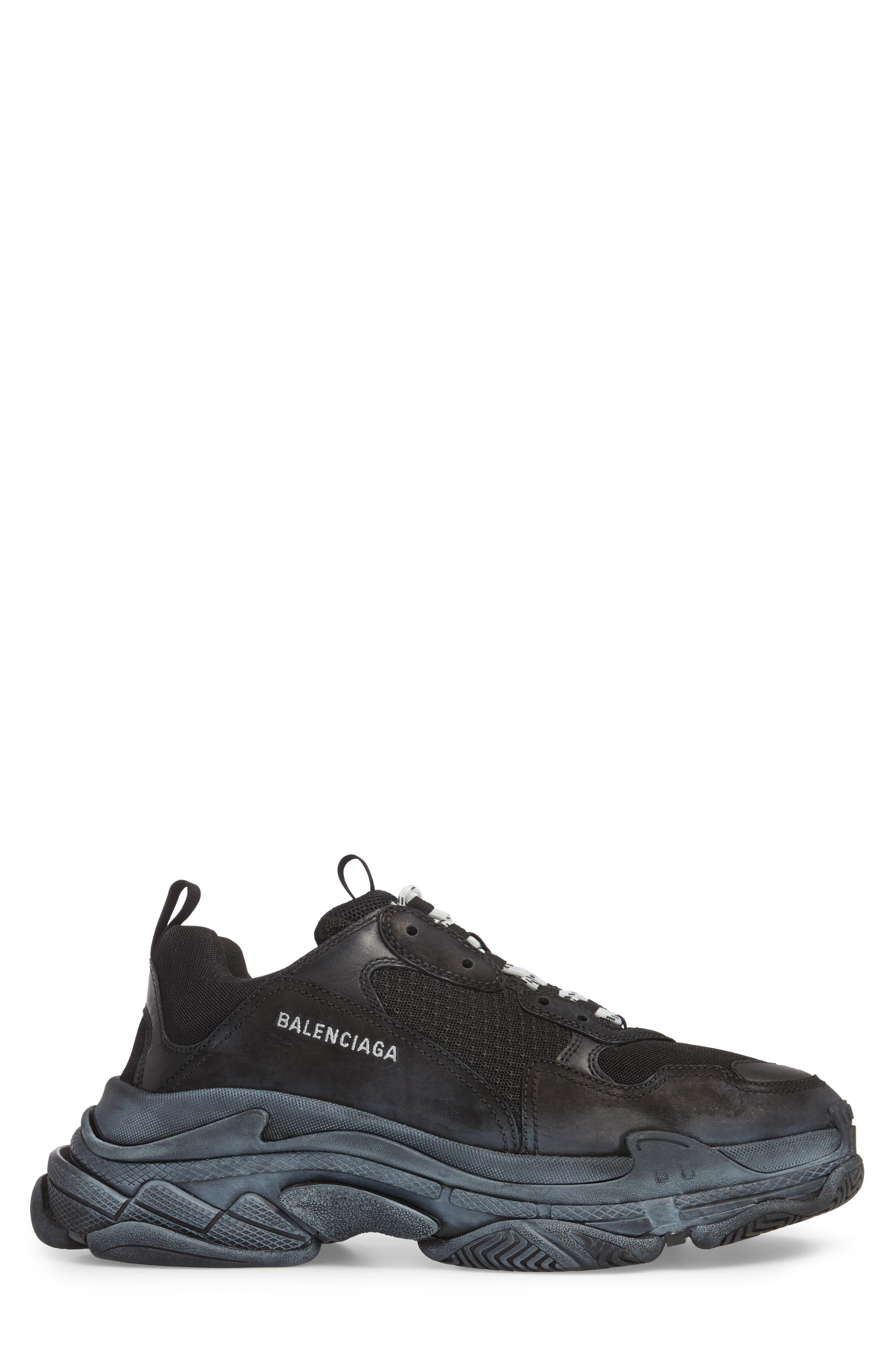 Triple S Retro Sneaker,                             Alternate thumbnail 3, color,                             NOIR