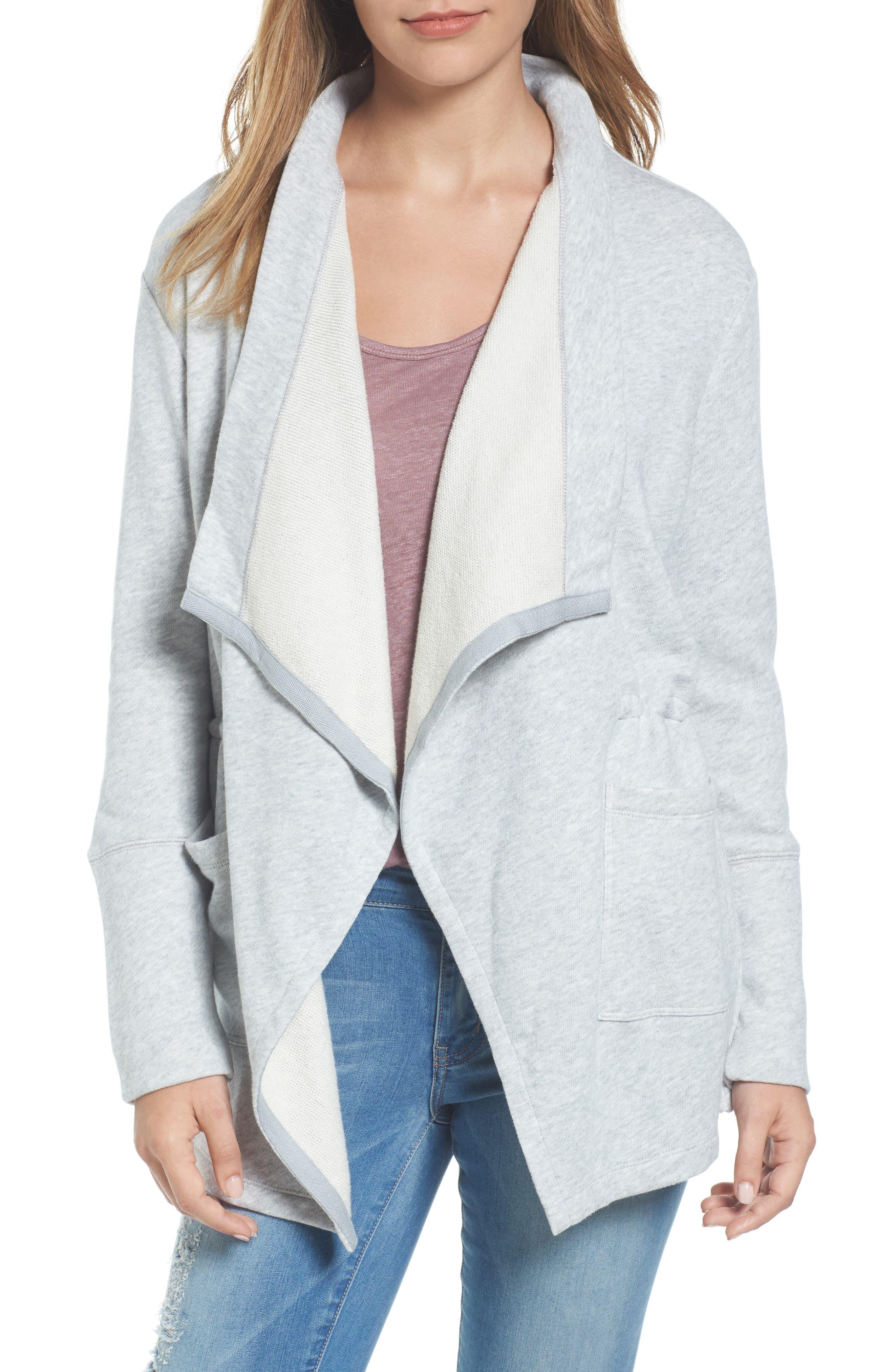 CASLON<SUP>®</SUP> Asymmetrical Drape Collar Terry Jacket, Main, color, HEATHER LIGHT GREY