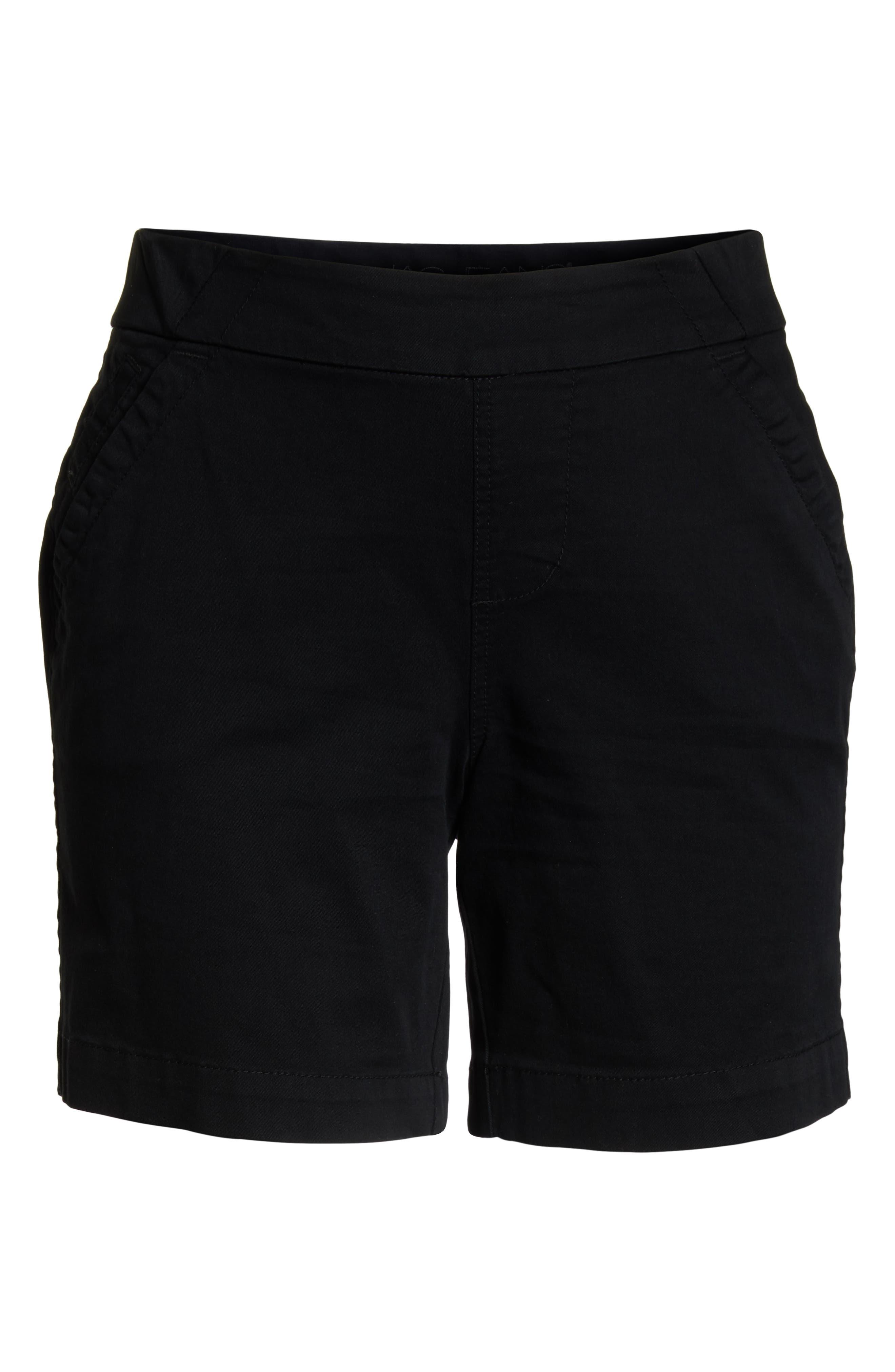 Gracie Stretch Cotton Shorts,                             Alternate thumbnail 6, color,                             BLACK