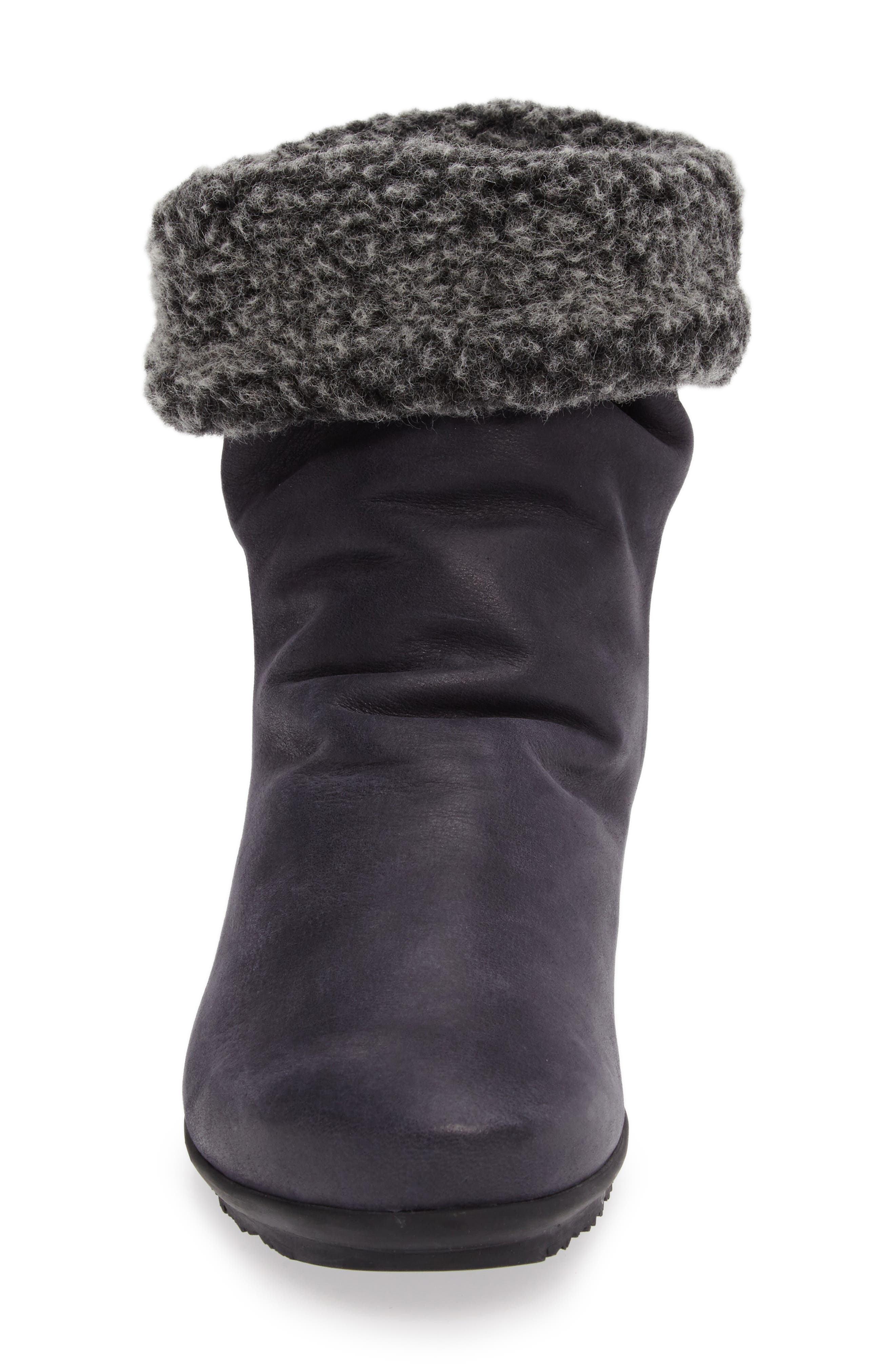 Barosa Faux Shearling Cuffed Bootie,                             Alternate thumbnail 4, color,