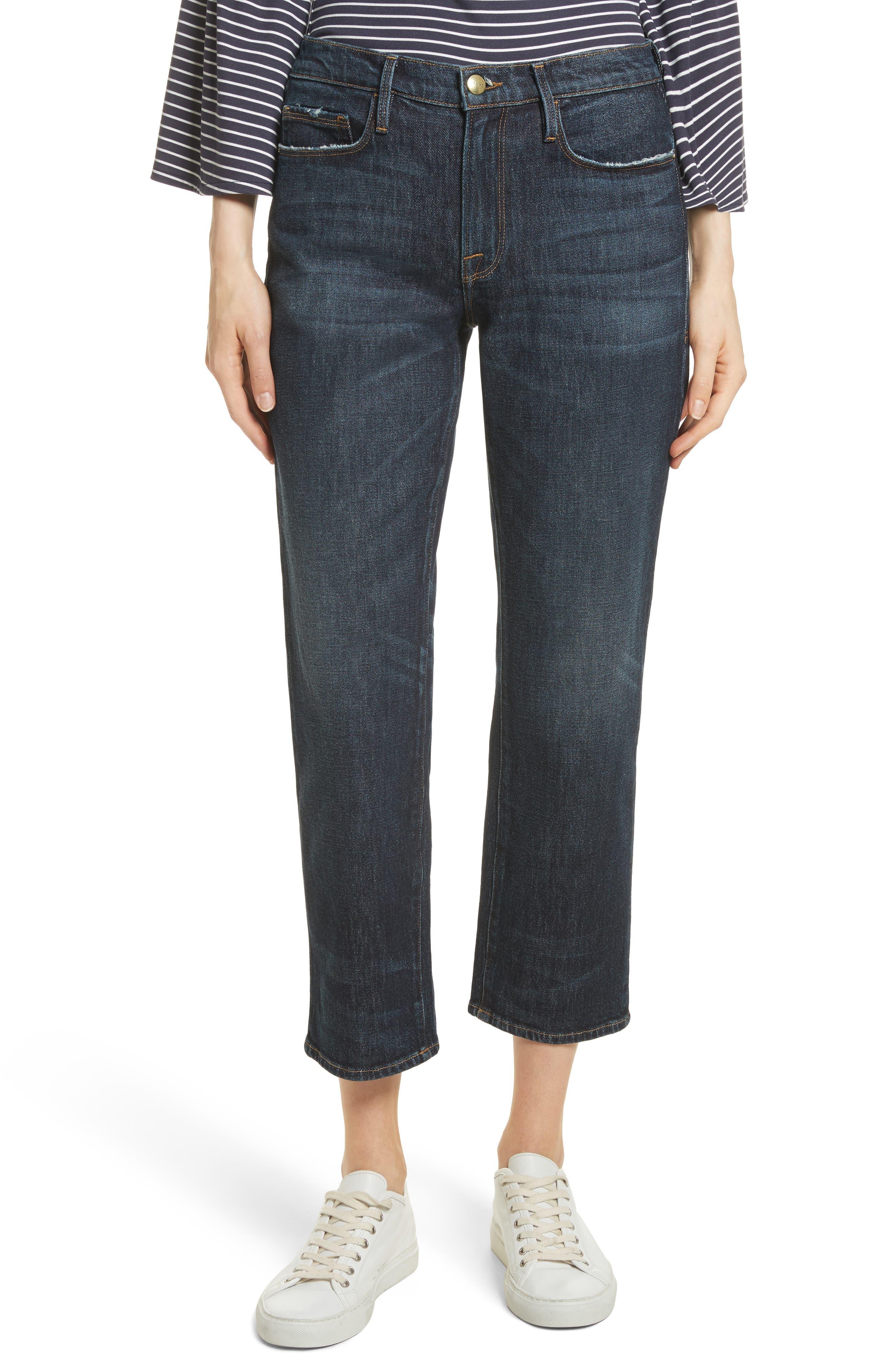 Straight Leg Ankle Jeans,                             Main thumbnail 1, color,                             402