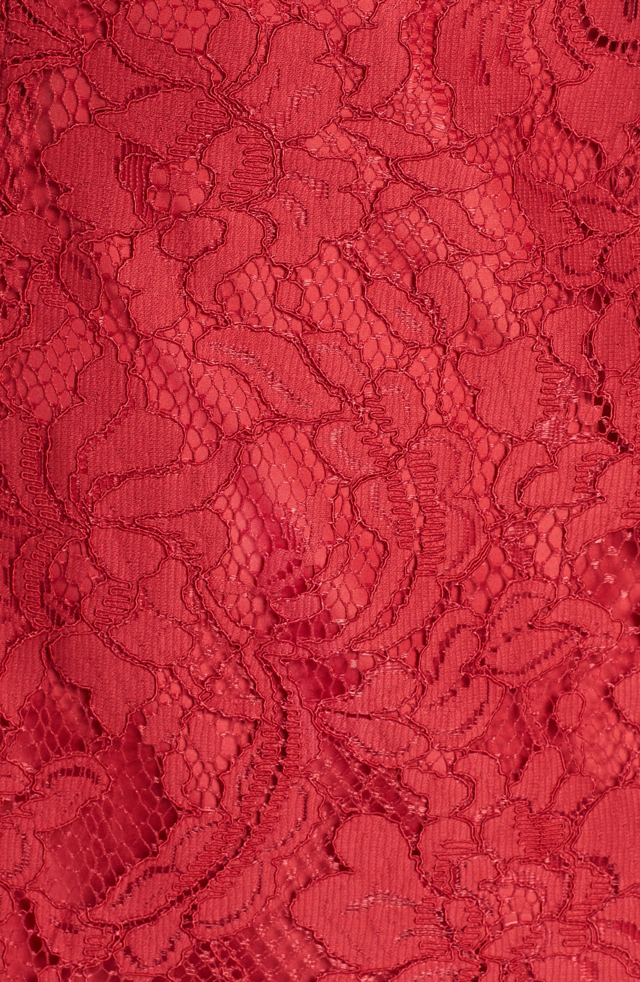 Lace Fit & Flare Dress,                             Alternate thumbnail 6, color,                             LIPSTICK RED