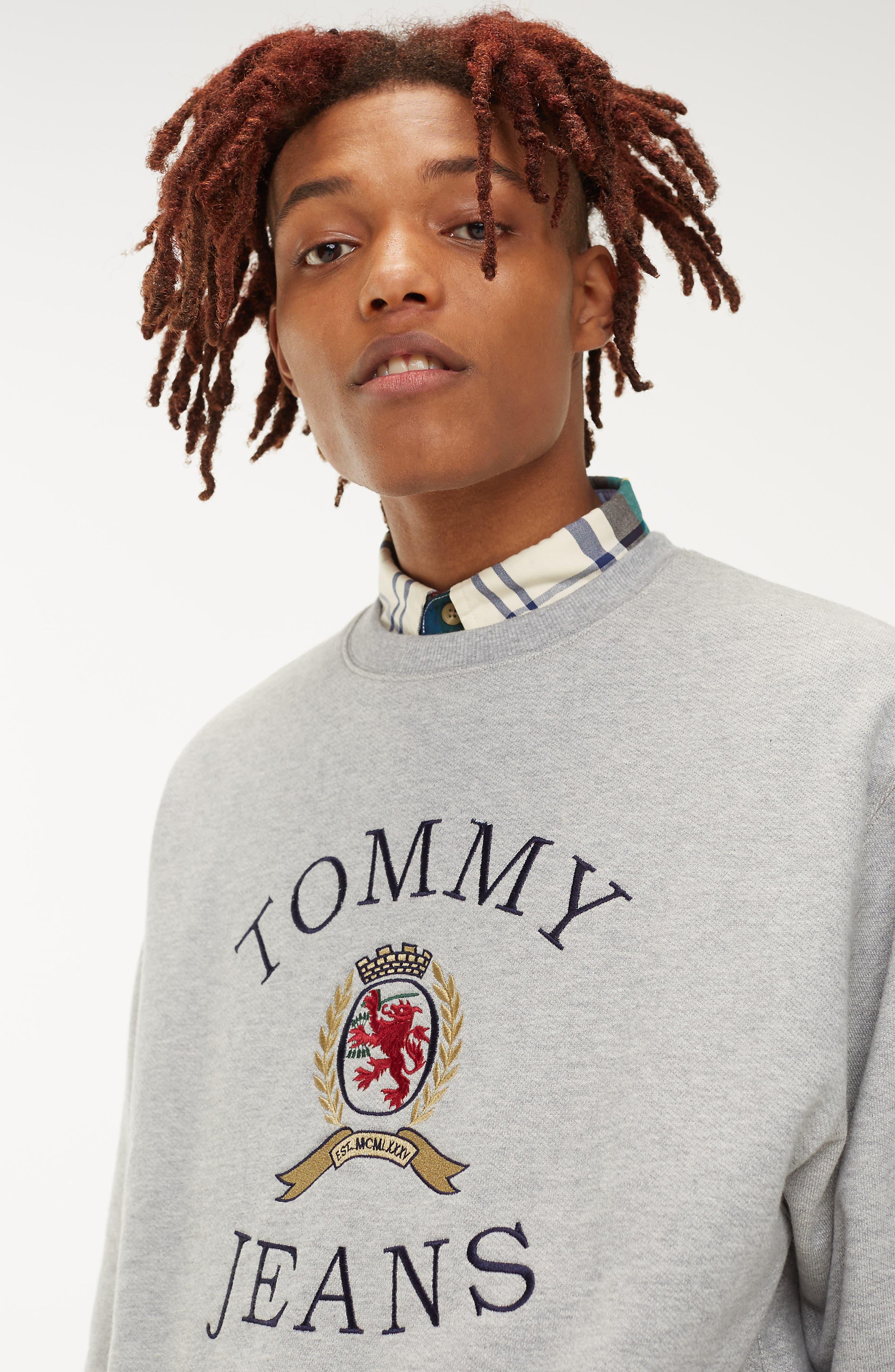Embroidered Crest Sweatshirt,                             Alternate thumbnail 7, color,                             GREY HTR