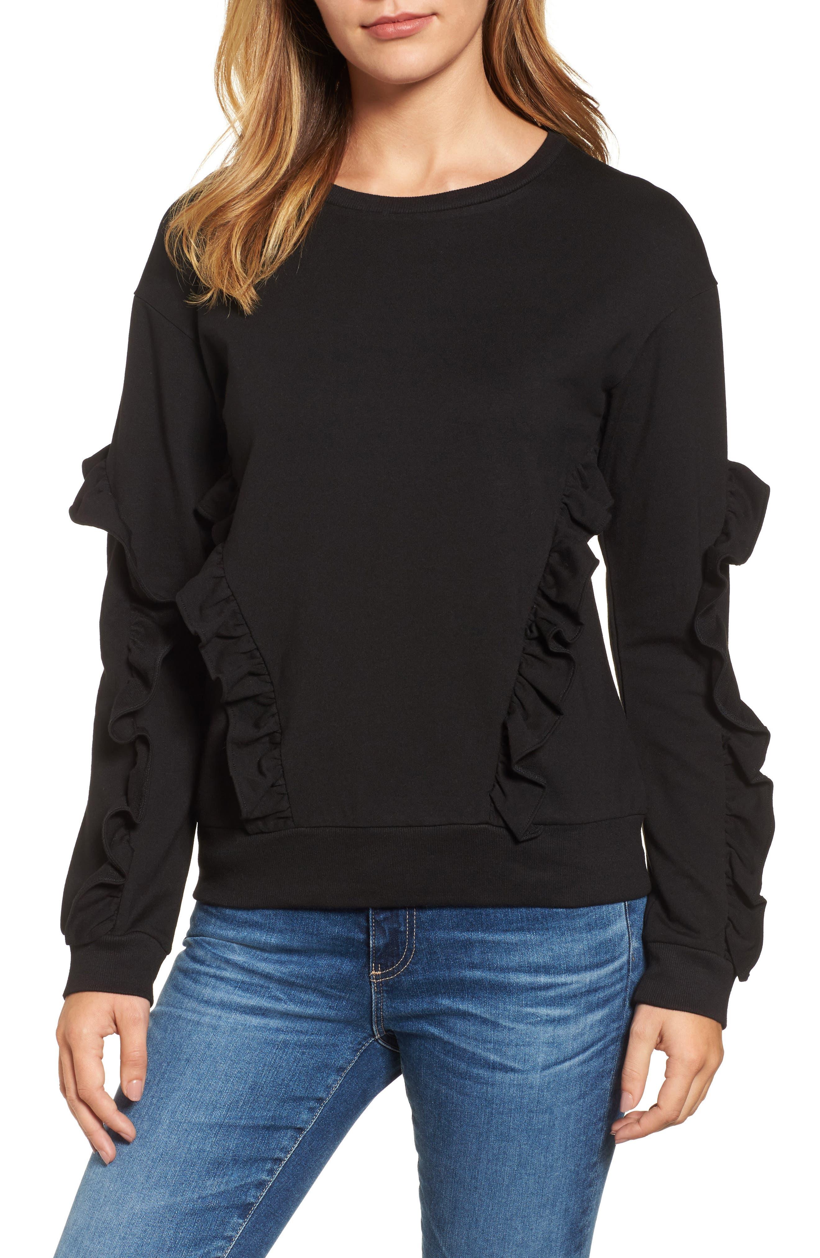 Ruffle Detail Sweatshirt,                         Main,                         color, 001