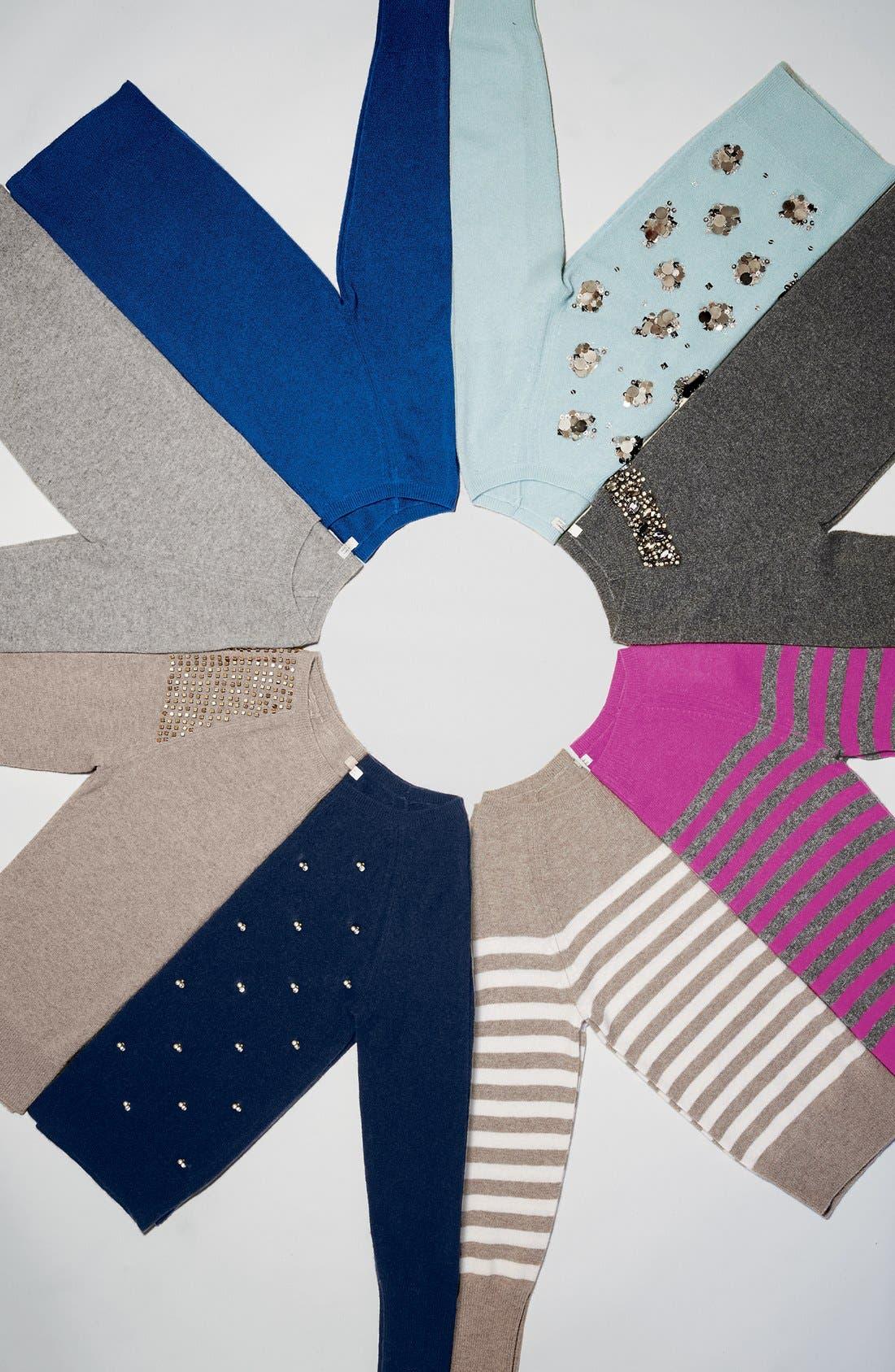 Embellished Shoulder Cashmere Sweater,                             Alternate thumbnail 5, color,                             001