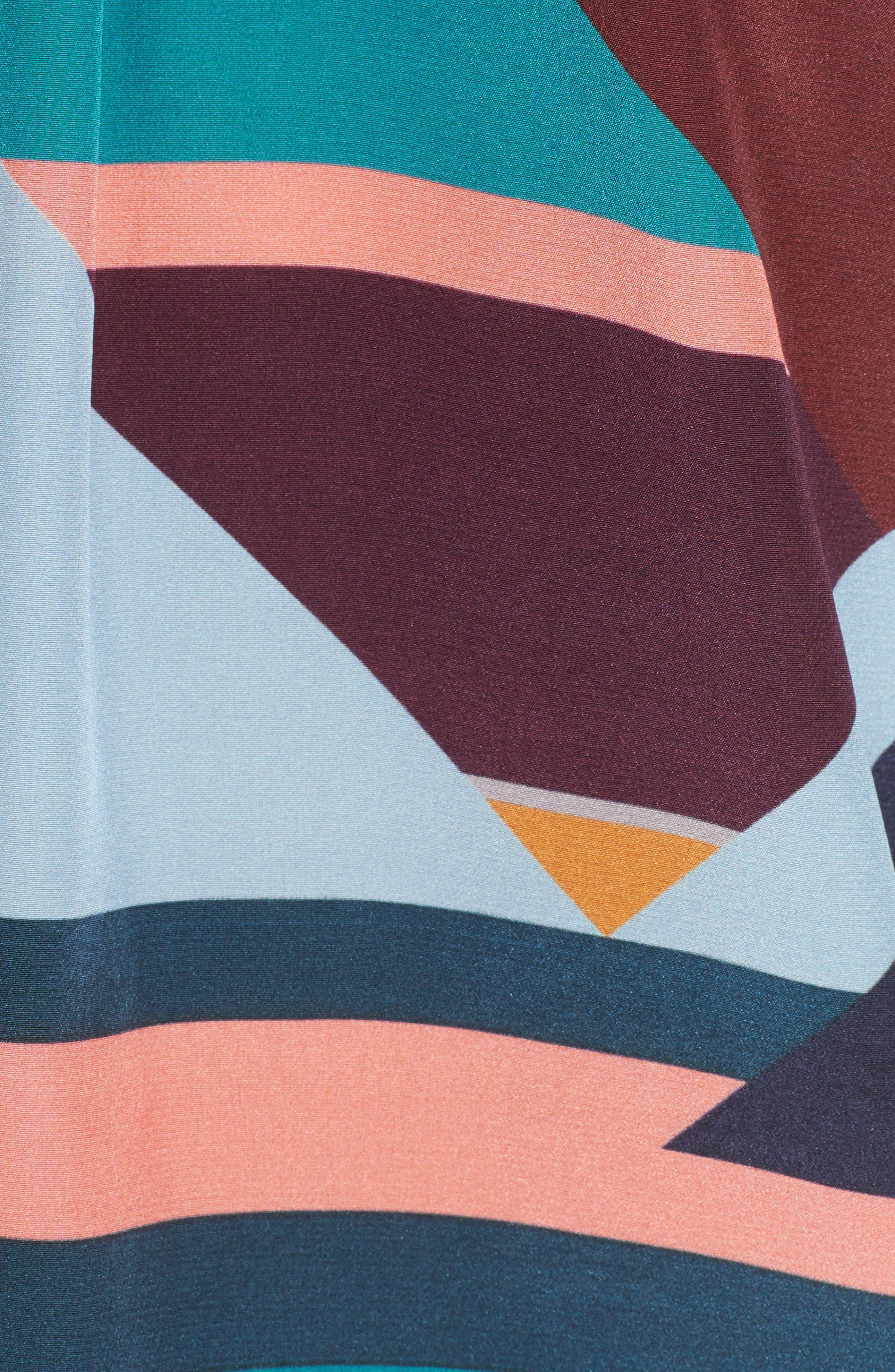 Geometric Print Silk Peasant Blouse,                             Alternate thumbnail 5, color,                             400