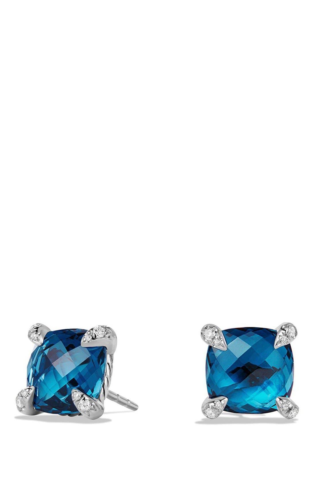 'Châtelaine' Earrings with Semiprecious Stones and Diamonds,                             Main thumbnail 1, color,                             SILVER/ HAMPTON BLUE TOPAZ