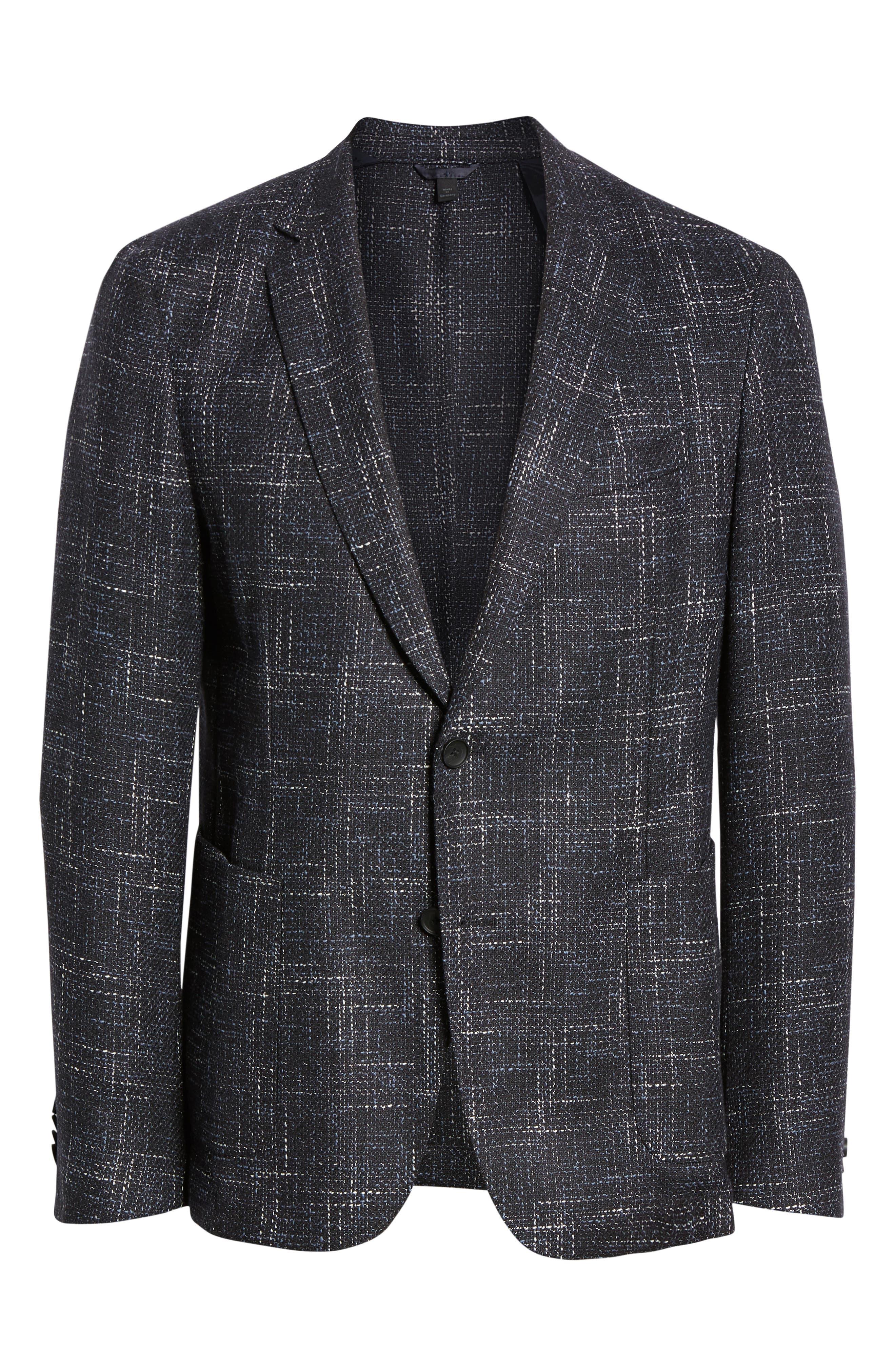 Nold Slim Fit Plaid Wool Blend Sport Coat,                             Alternate thumbnail 5, color,                             OPEN BLUE