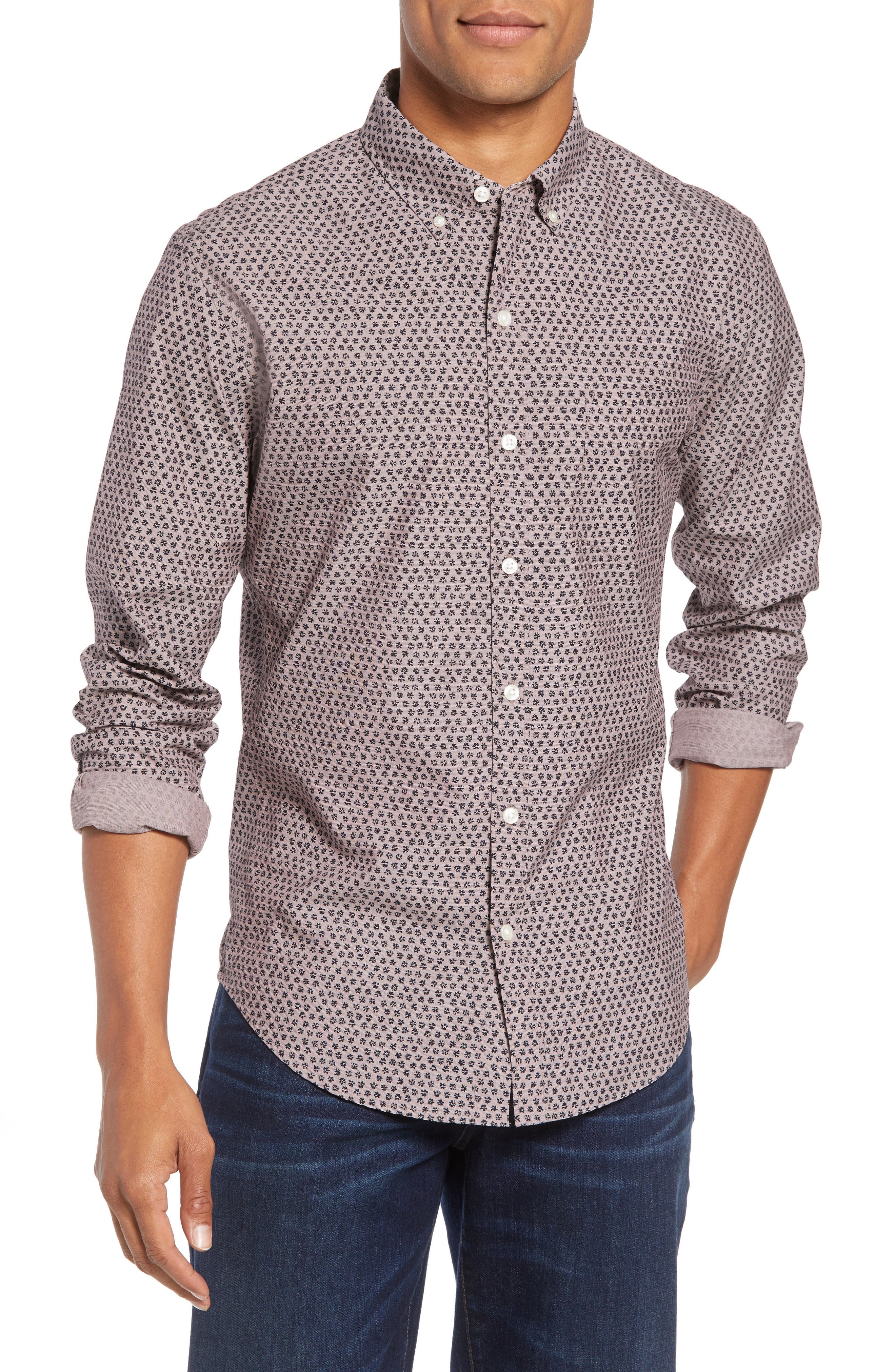Washed Button Down Slim Fit Print Sport Shirt, Main, color, HIGHLAND FLORAL - BEAR BERRY