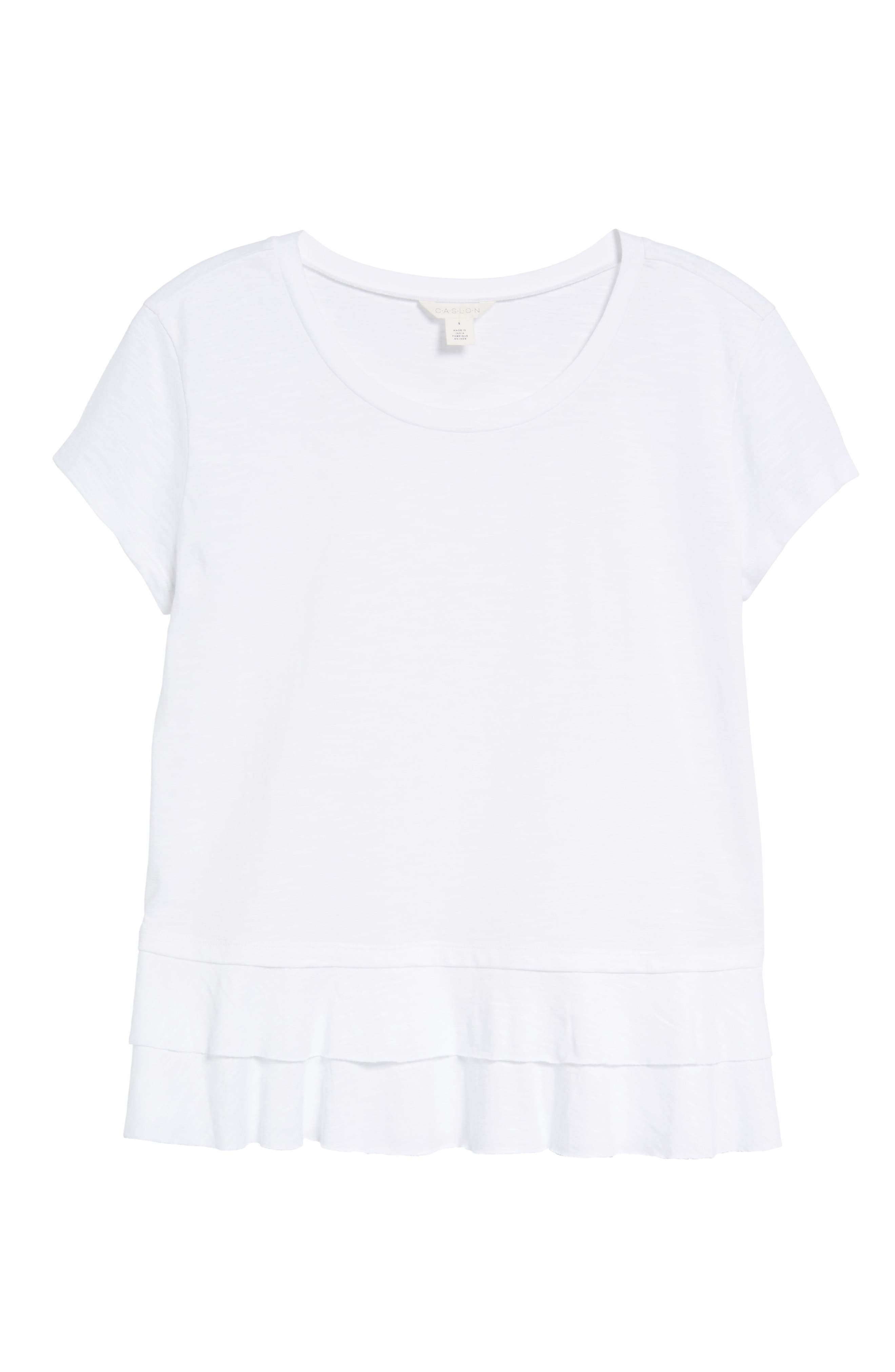 CASLON<SUP>®</SUP>,                             Tiered Short Sleeve Tee,                             Alternate thumbnail 6, color,                             WHITE