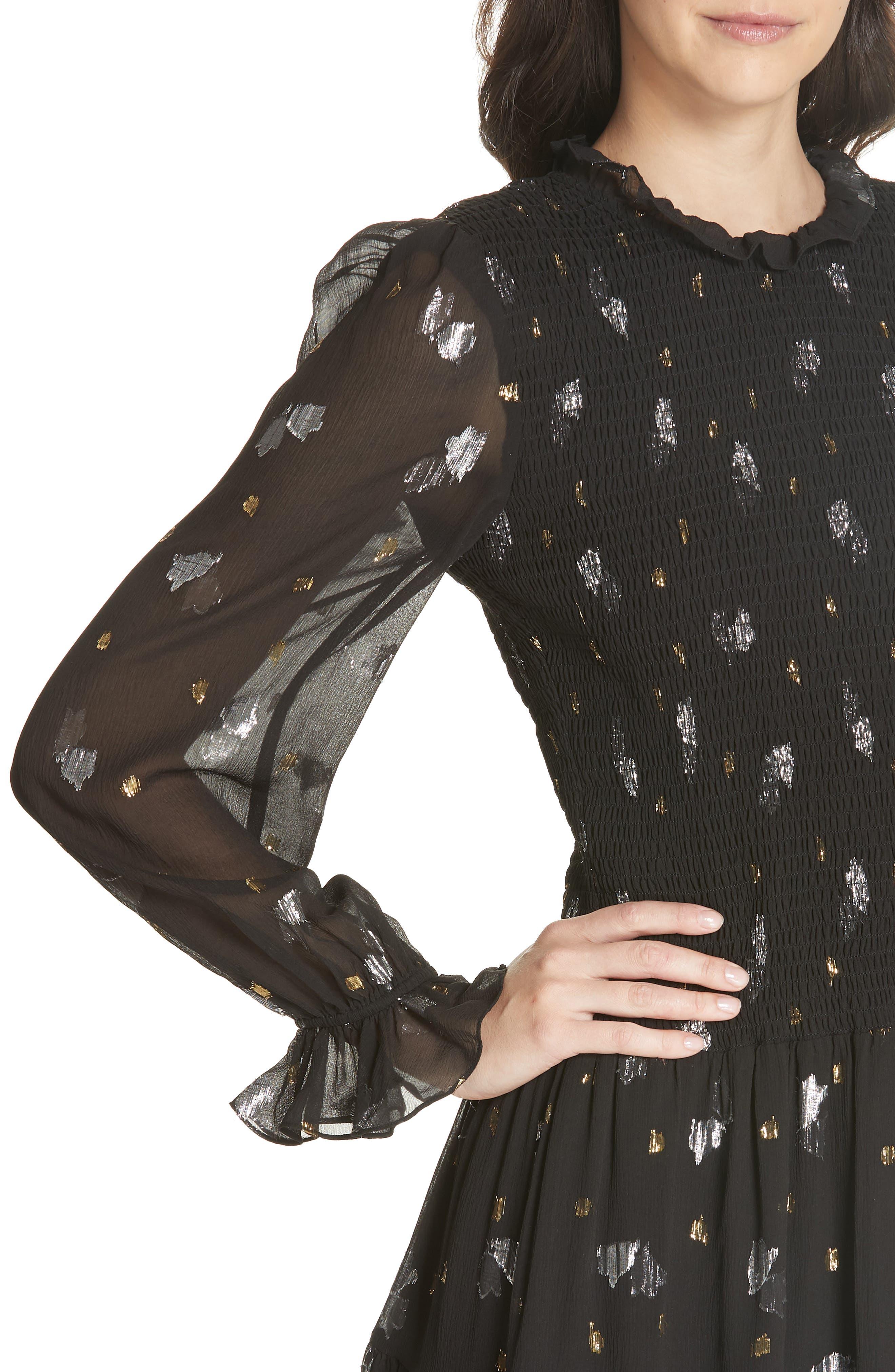 Scattered Metallic Tulip Silk Blend Dress,                             Alternate thumbnail 4, color,                             001