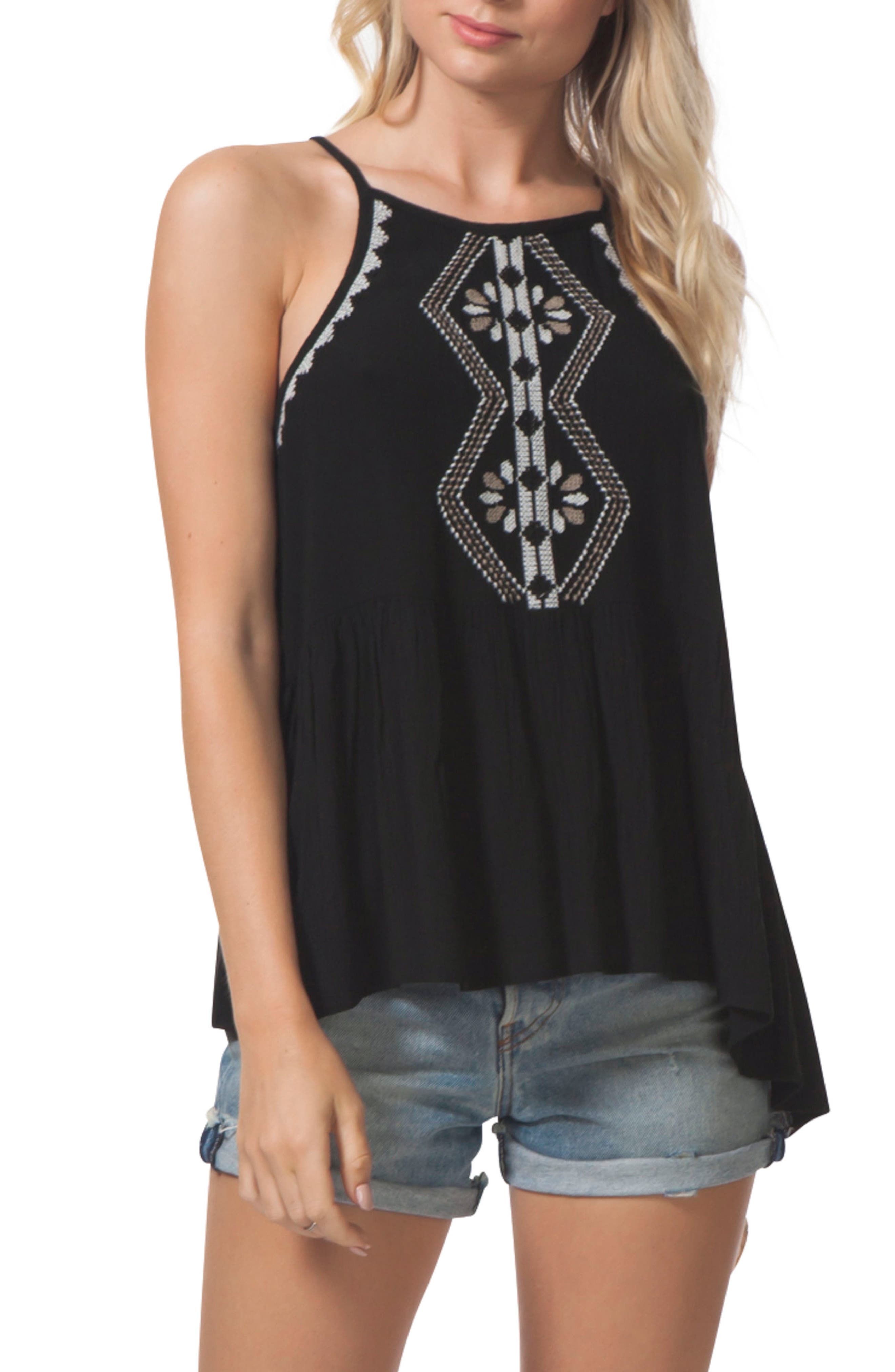 Serena Embroidered Tank,                         Main,                         color, 001