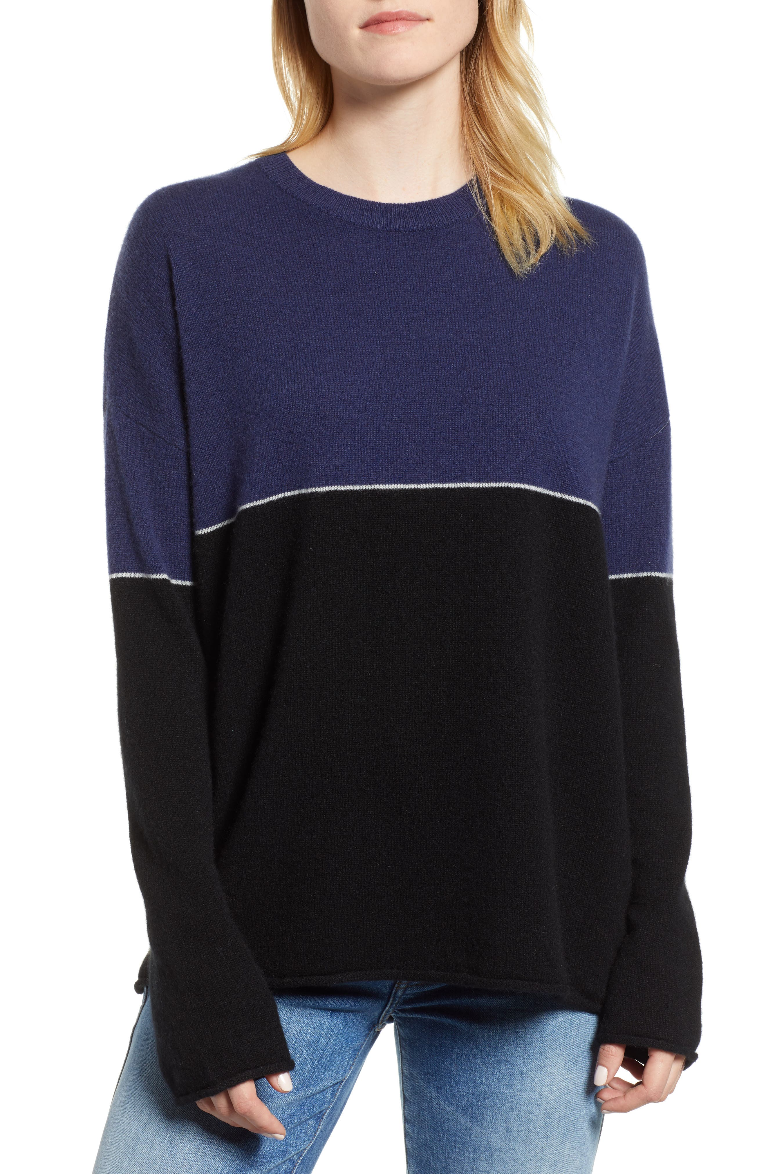 Cashmere Colorblock Sweater,                             Main thumbnail 1, color,                             001