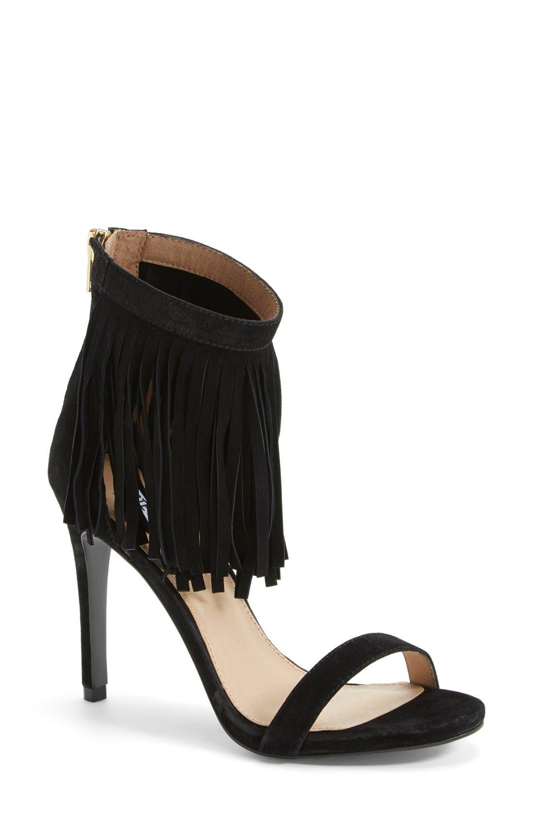 'Staarz' Ankle Fringe Sandal,                         Main,                         color, 006