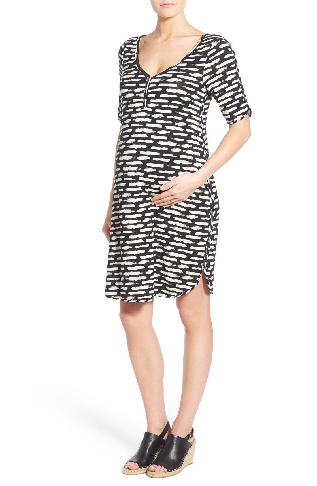 'Farren' Knit Maternity Dress,                         Main,                         color, BRUSHSTROKES