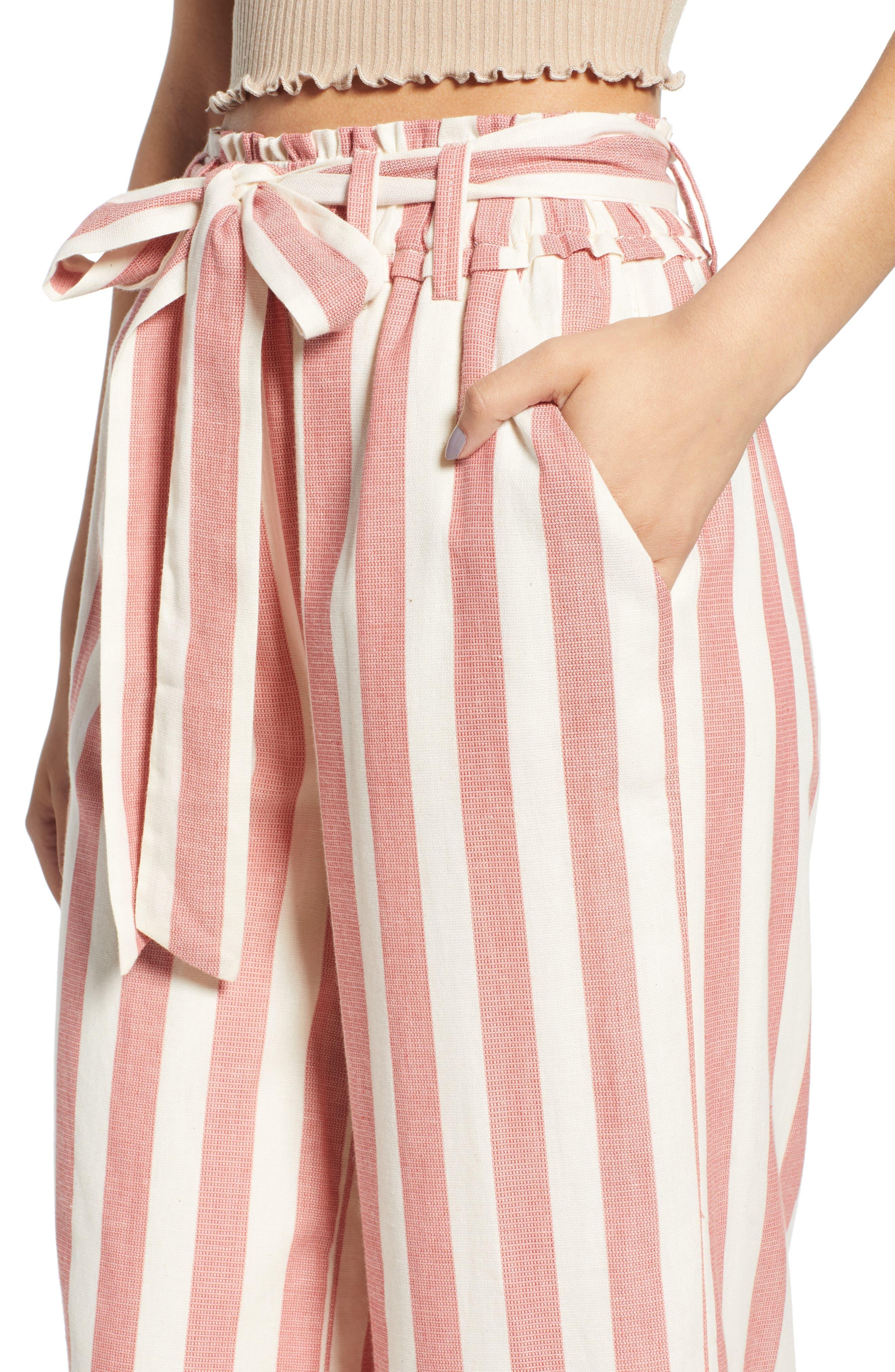 Stripe Paperbag Waist Pants,                             Alternate thumbnail 4, color,                             600
