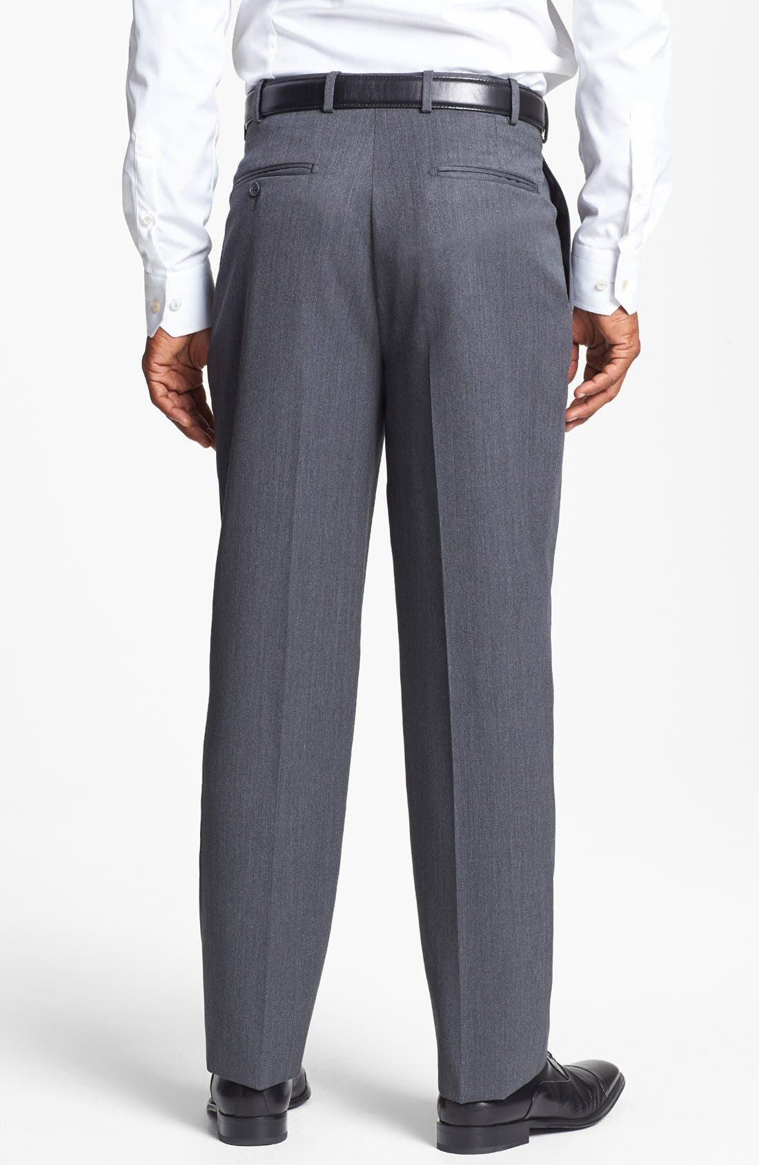 Pleated Super 100s Worsted Wool Trousers,                             Alternate thumbnail 15, color,