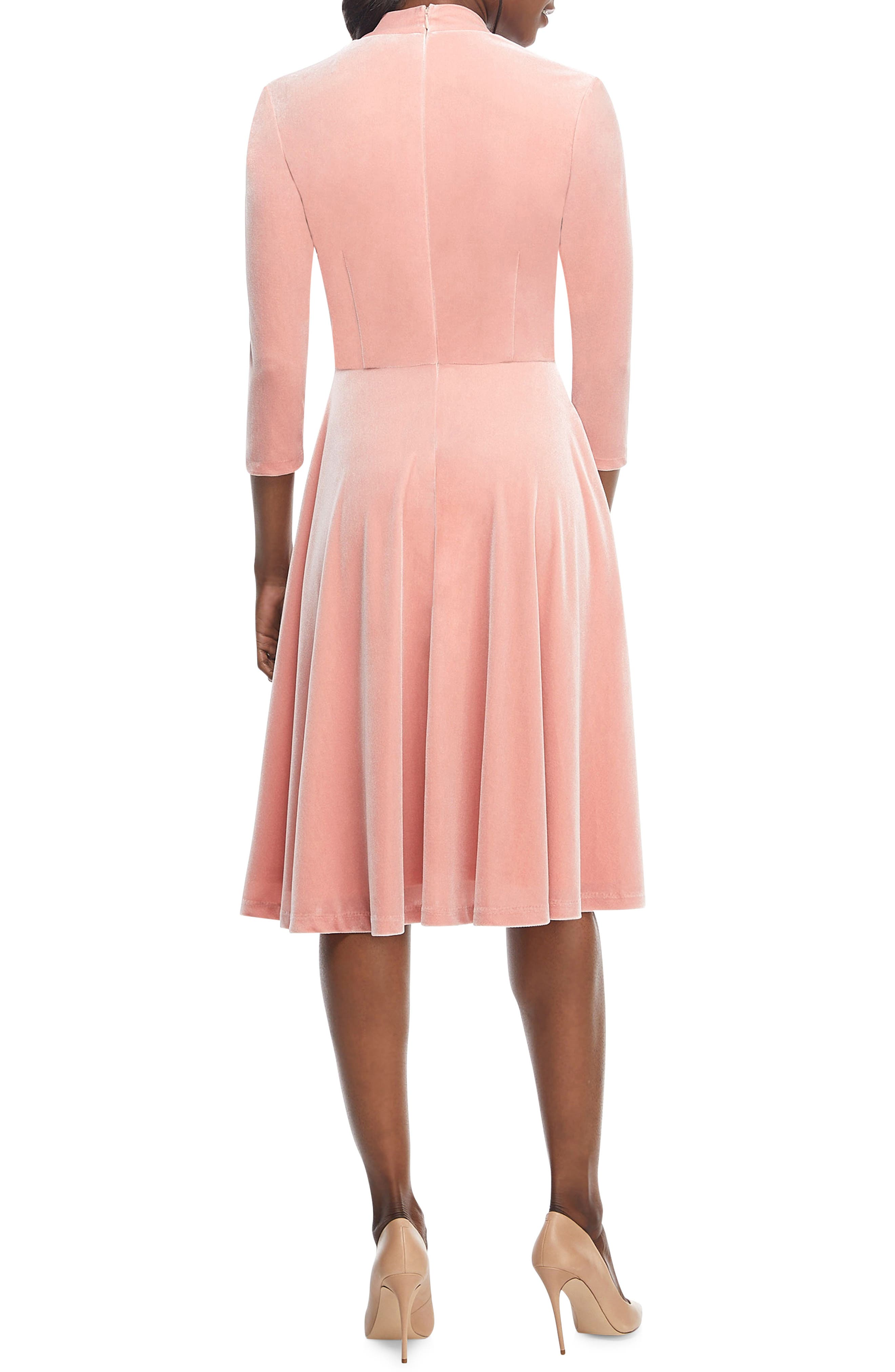 Joy Button Front Velvet Dress,                             Alternate thumbnail 2, color,                             PINK