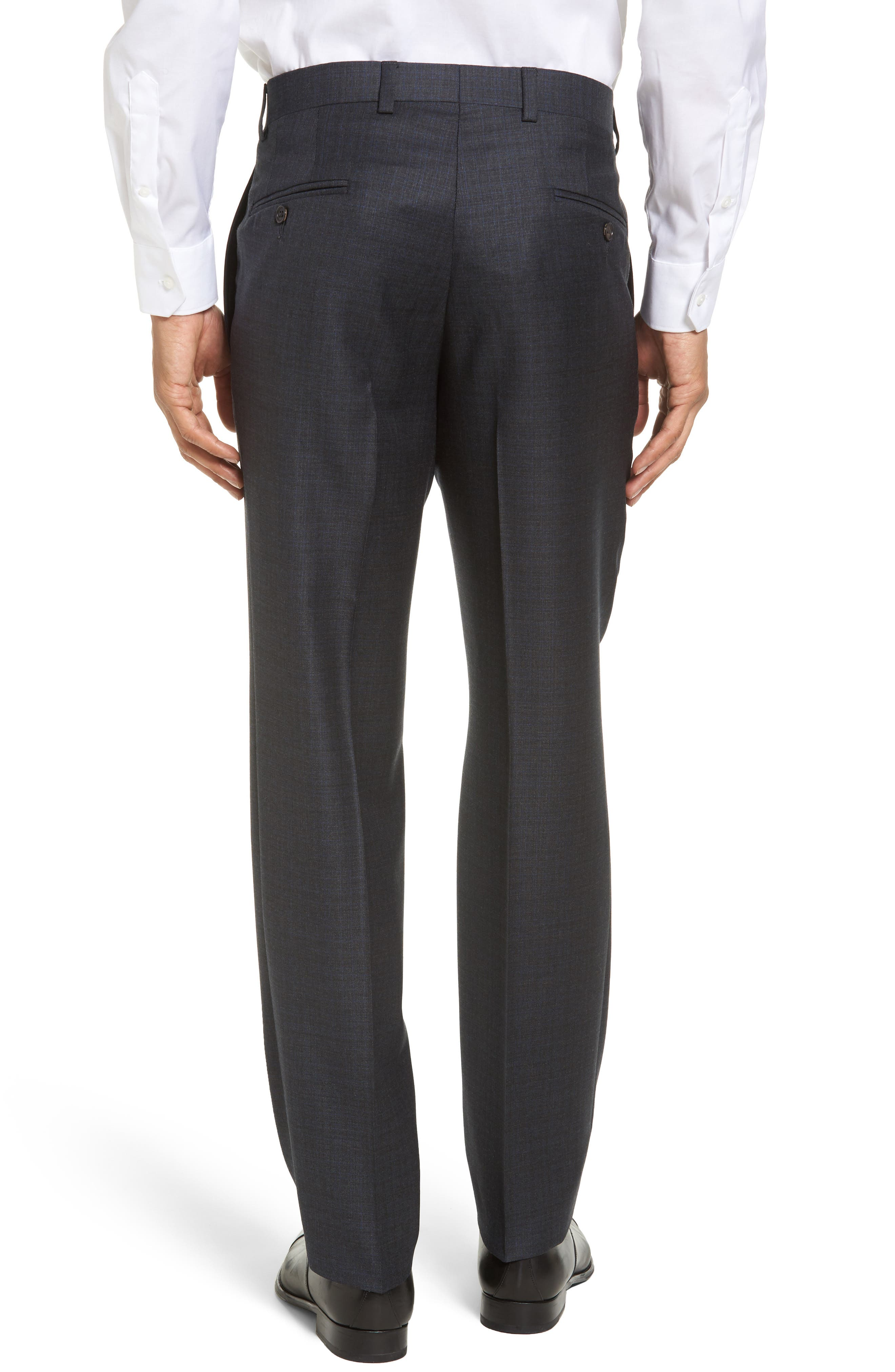 Jefferson Flat Front Solid Wool Trousers,                             Alternate thumbnail 3, color,                             020