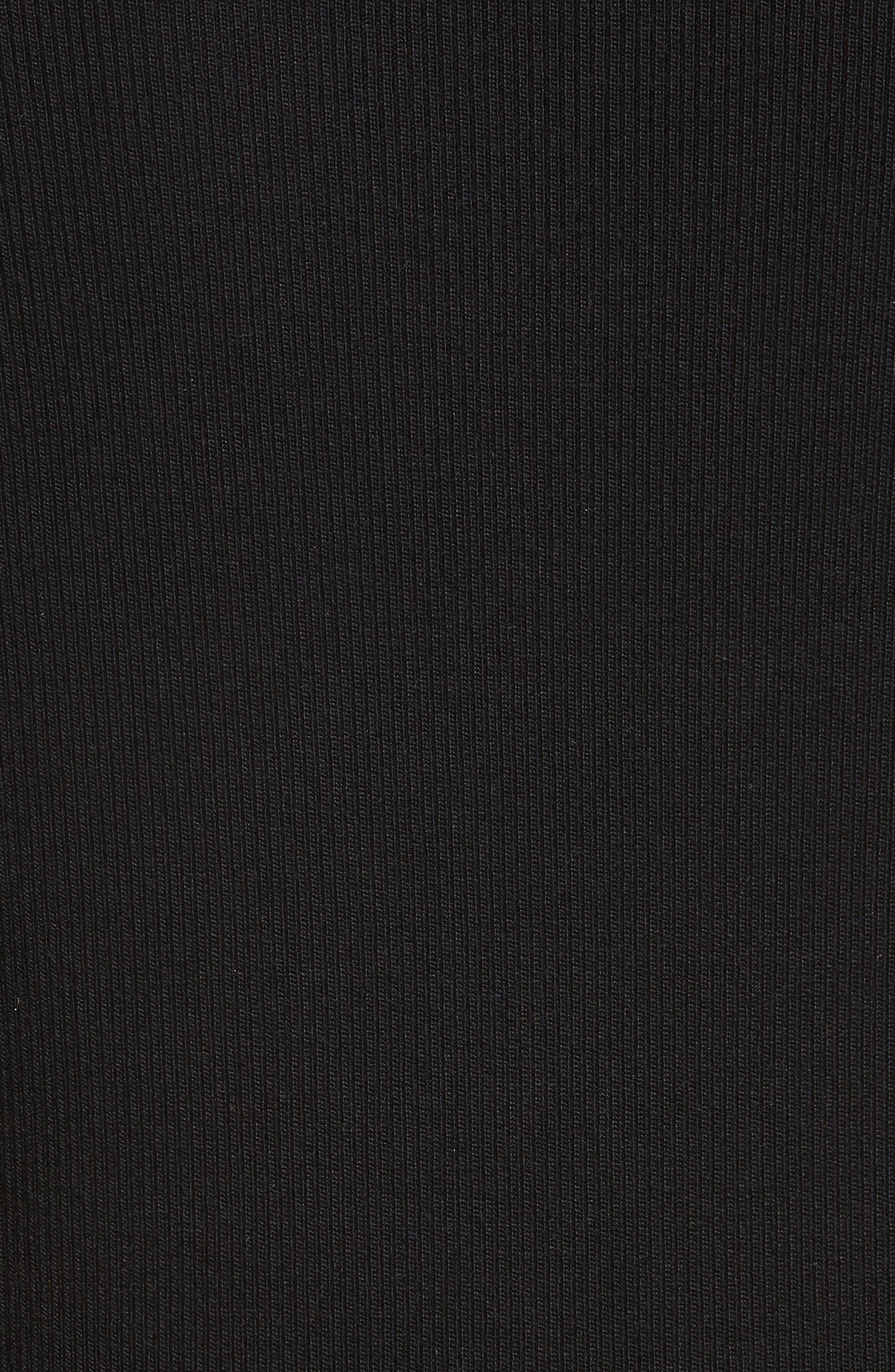 Rib Knit Silk Blend Sweater,                             Alternate thumbnail 5, color,                             001