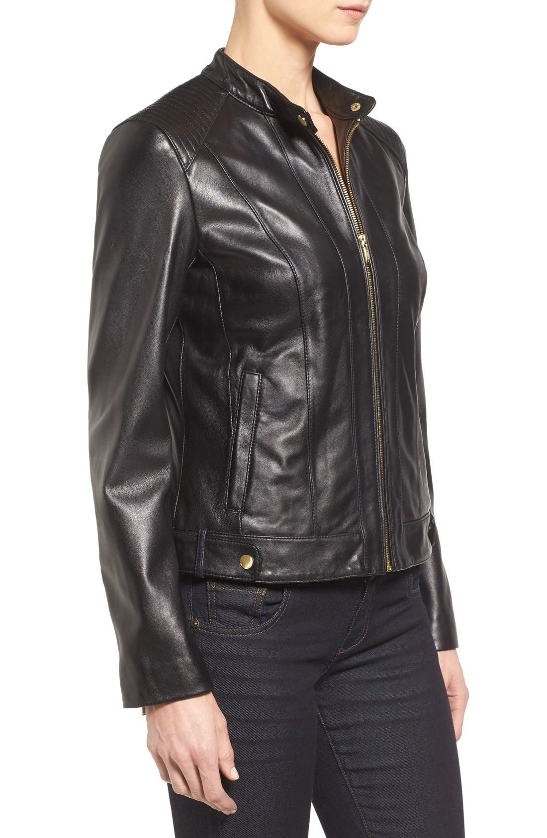 Leather Moto Jacket,                             Alternate thumbnail 3, color,                             BLACK