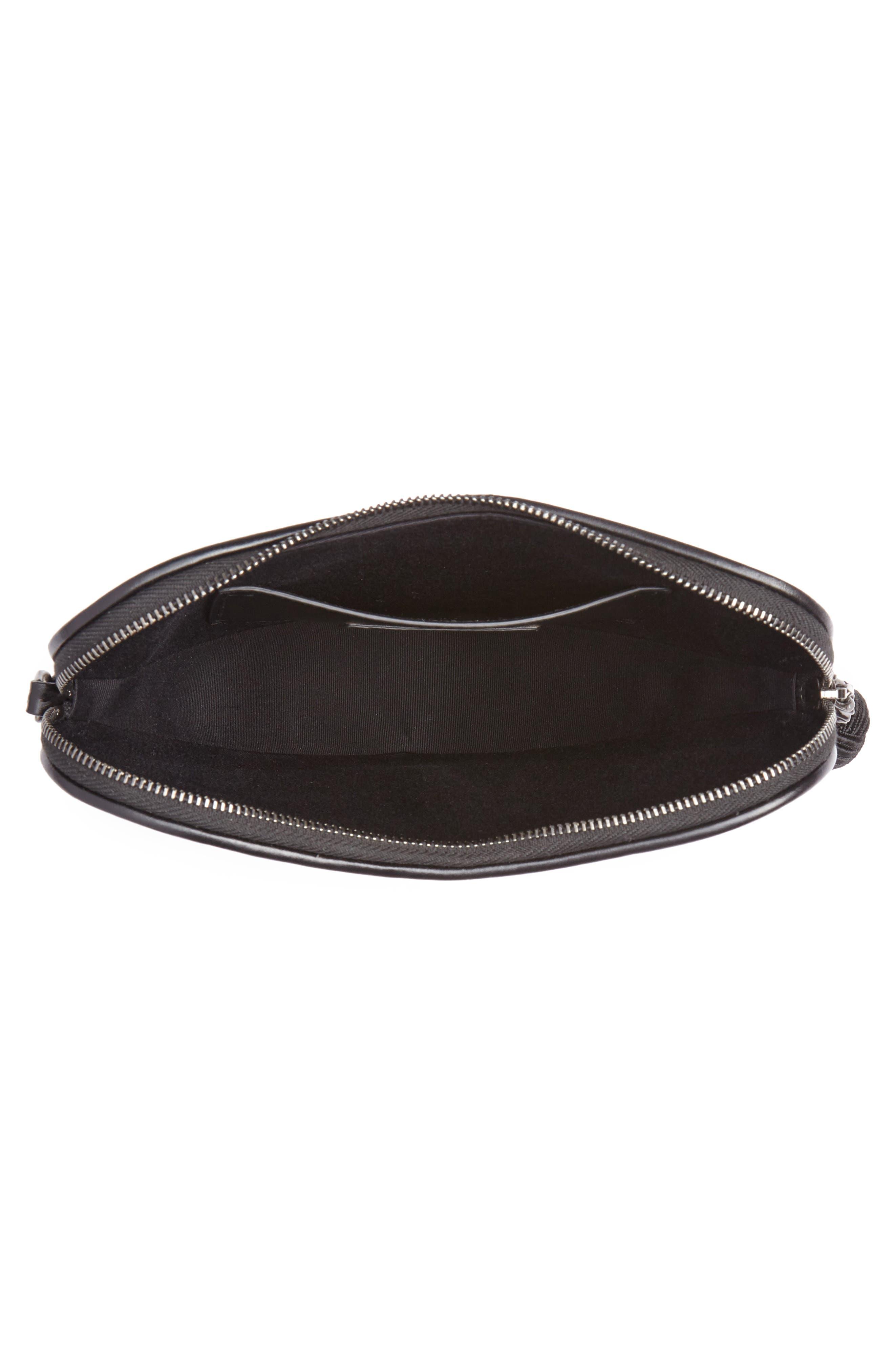 Sac Coeur Leather Crossbody Bag,                             Alternate thumbnail 4, color,                             NOIR/ NOIR