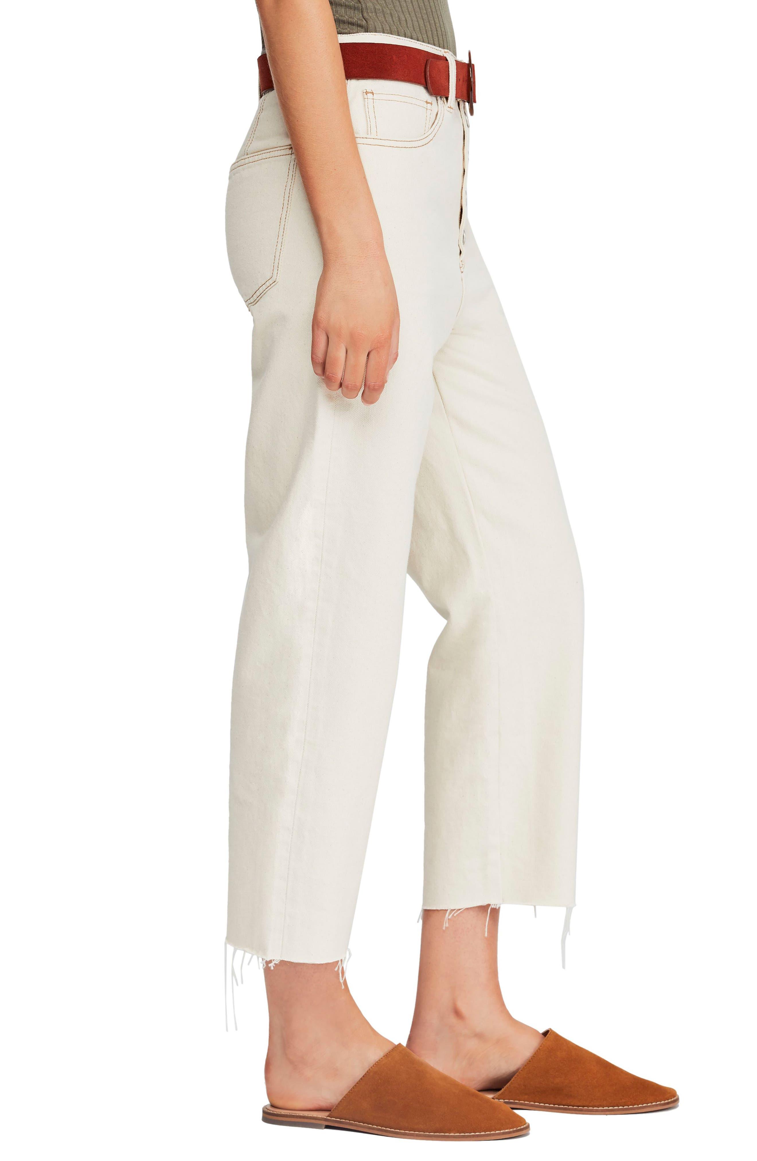 Barrel Straight Leg Crop Jeans,                             Alternate thumbnail 3, color,                             IVORY