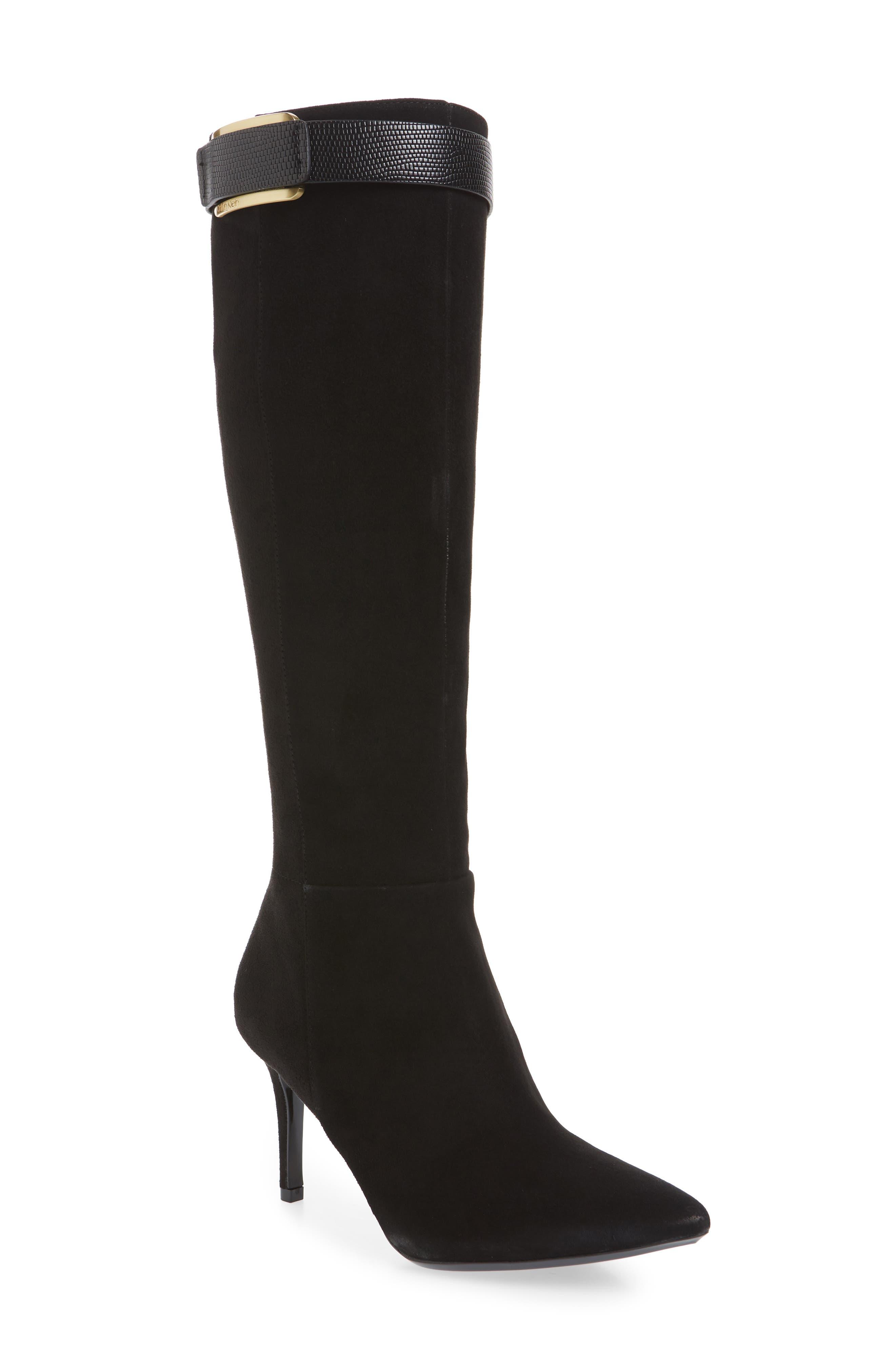 CALVIN KLEIN Glydia Stiletto Knee High Boot in Black Nappa