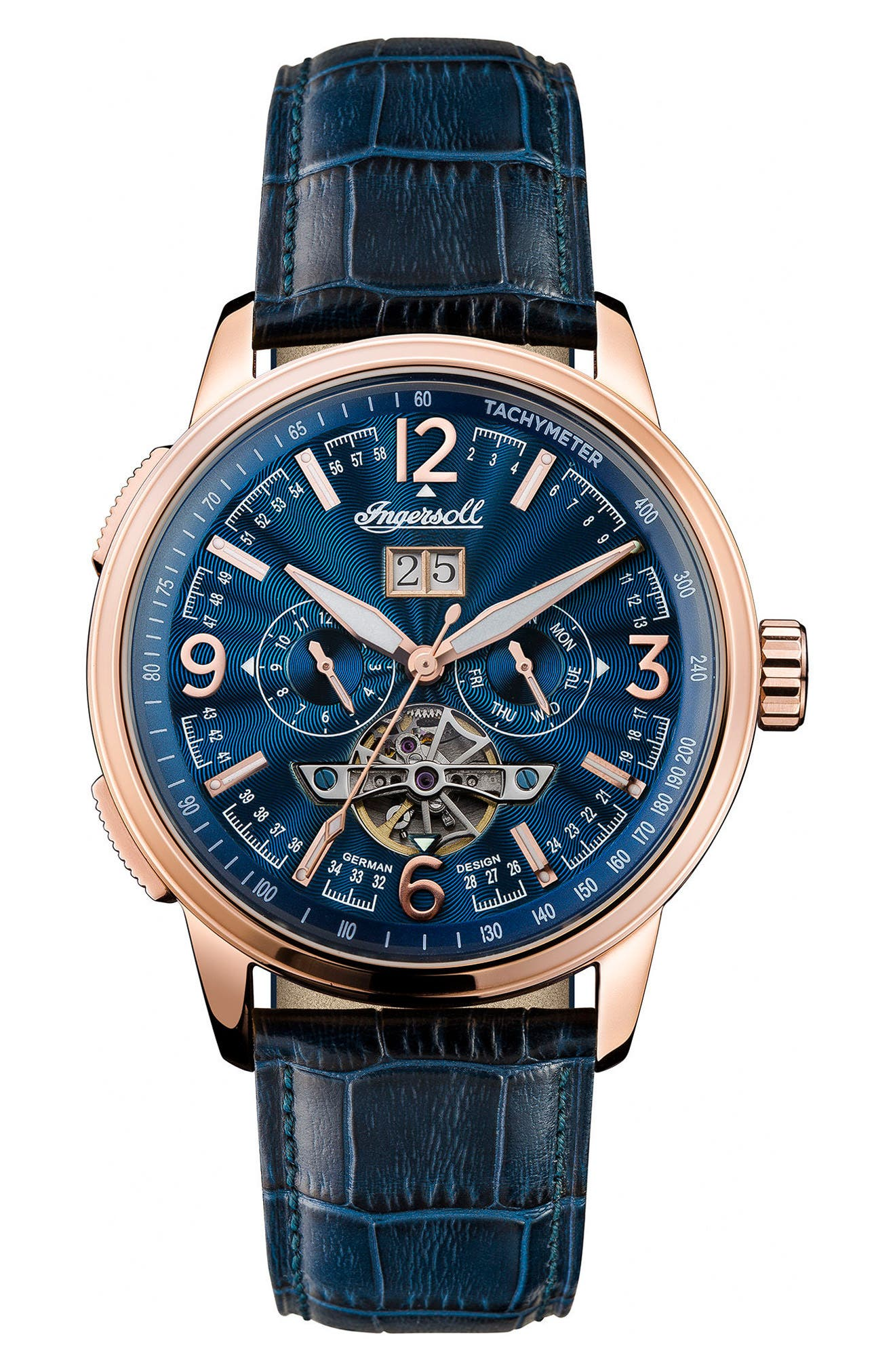 INGERSOLL WATCHES,                             Ingersoll Regent Automatic Open Heart Leather Strap Watch, 47mm,                             Main thumbnail 1, color,                             BLUE/ ROSE GOLD