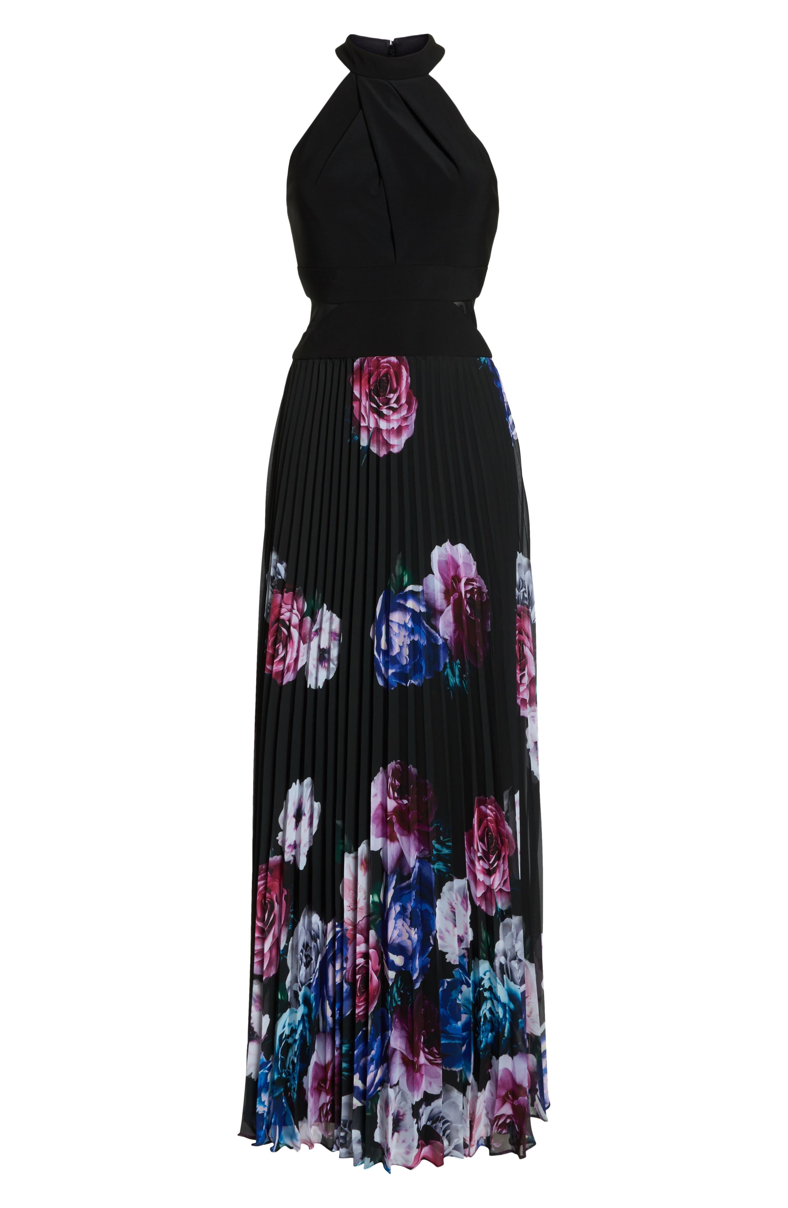 Halter Neck Gown,                             Alternate thumbnail 6, color,                             BLACK/ MAGENTA