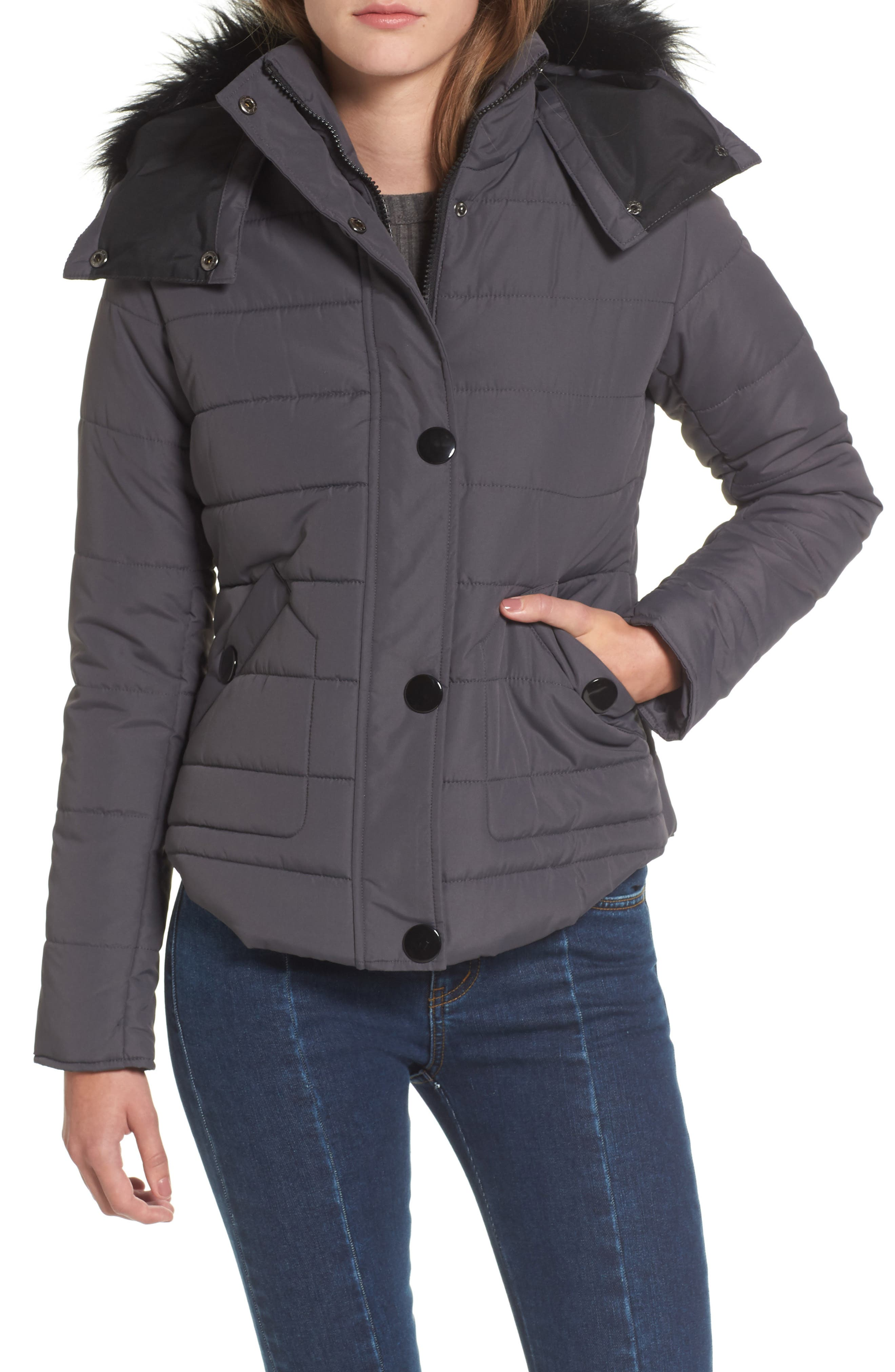Faux Fur Trim Hooded Puffer Jacket,                         Main,                         color, 036