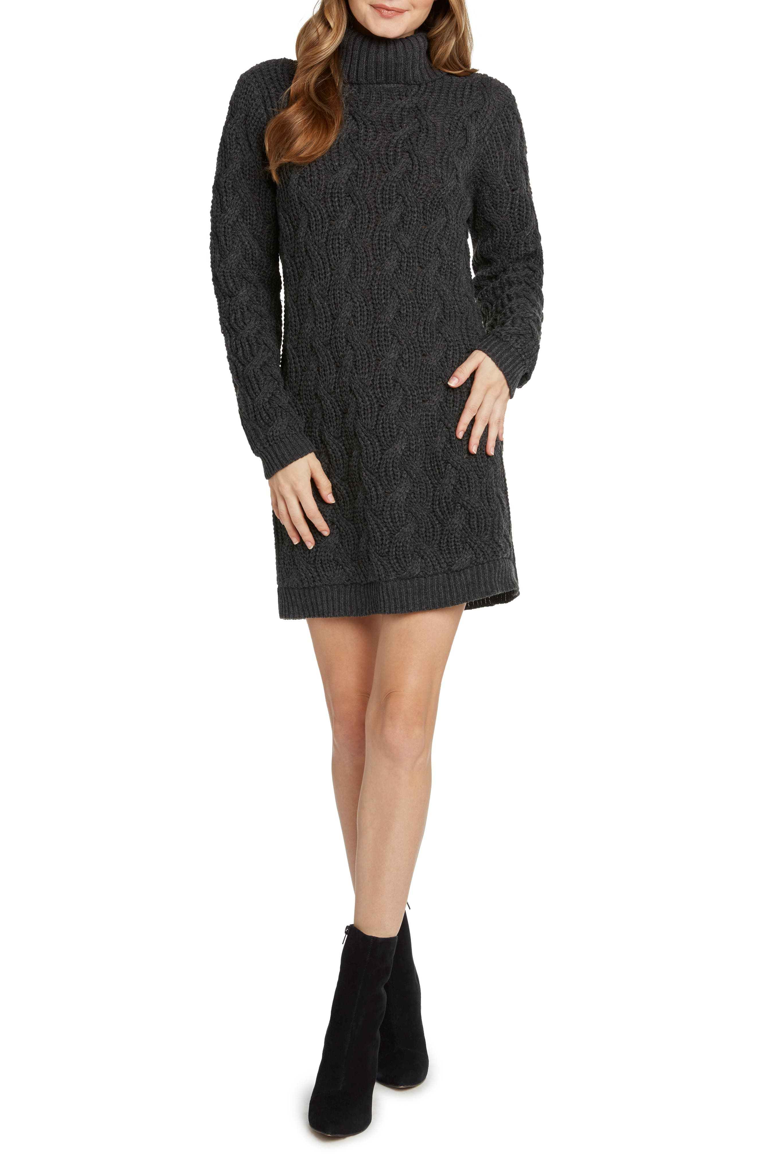 Cable Detail Sweater Dress,                             Main thumbnail 1, color,                             020