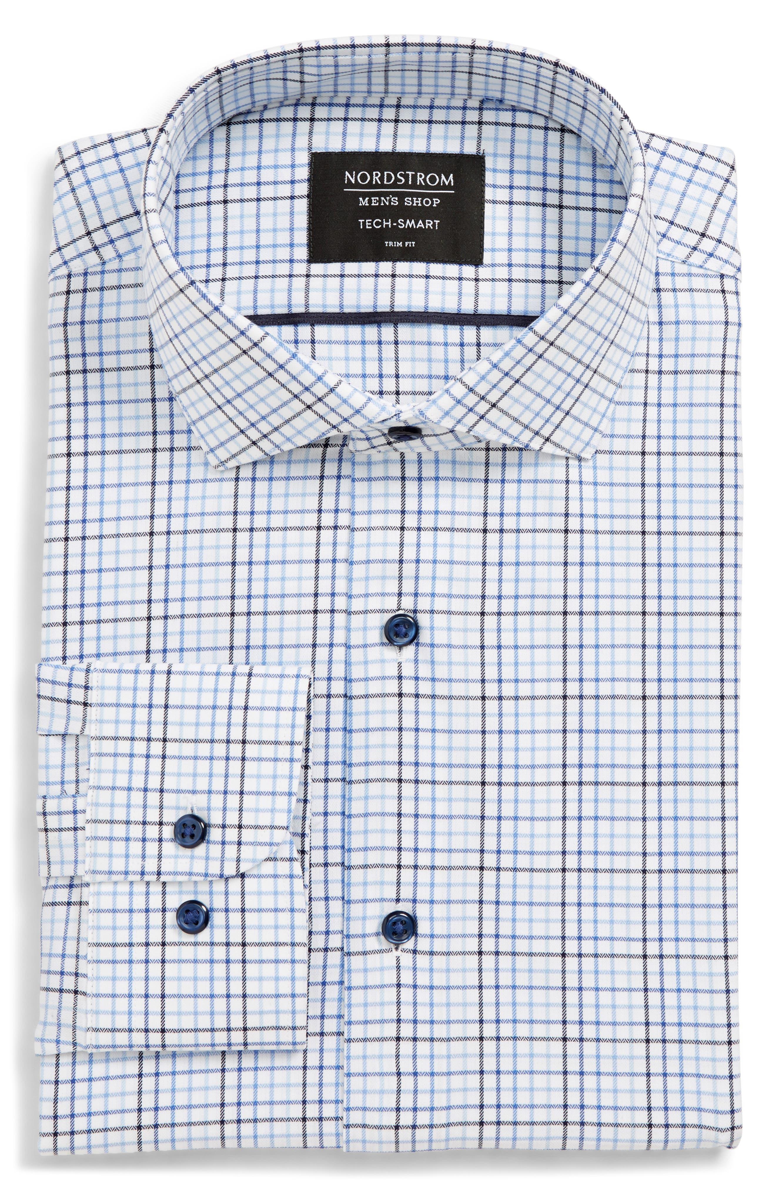 Tech-Smart Trim Fit Check Stretch Dress Shirt, Main, color, BLUE MARINE