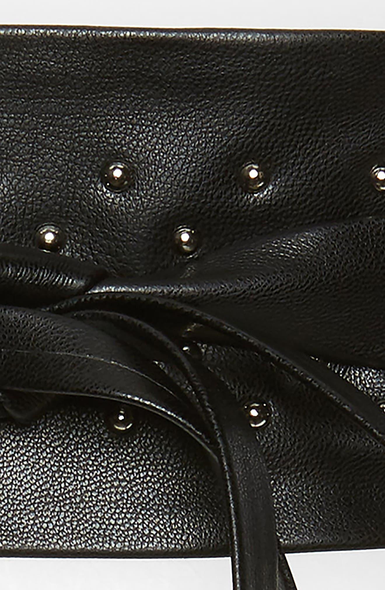 Studded Faux Leather Obi Belt,                             Alternate thumbnail 3, color,                             BLACK